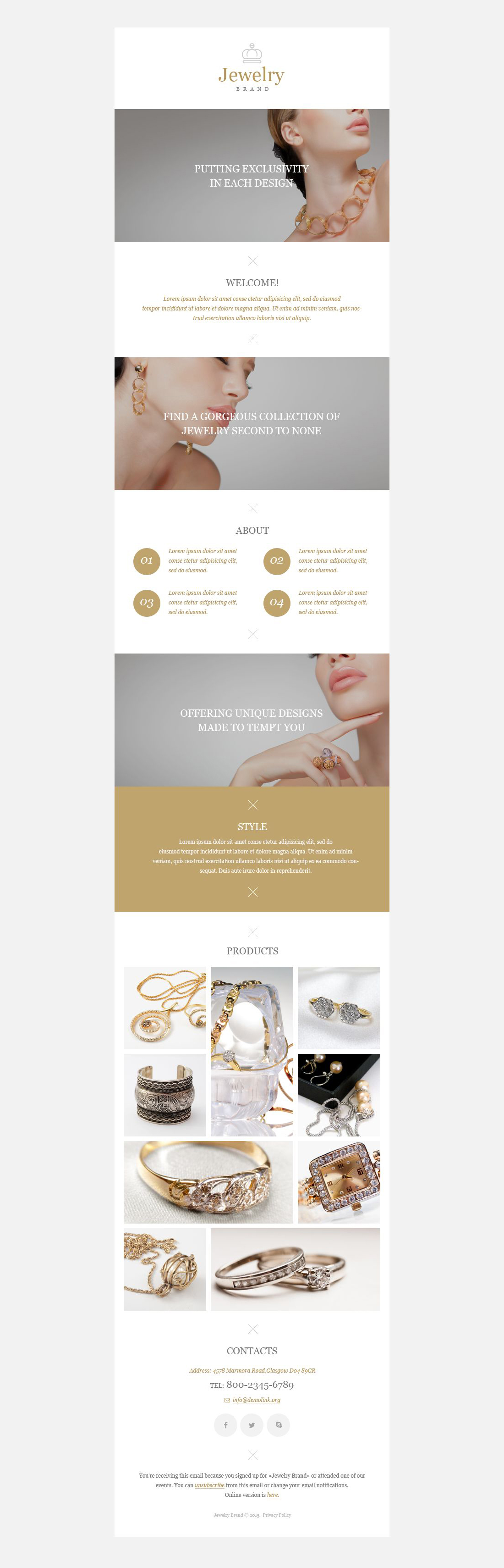 The Jewelry Brand Newsletter Template Design 52988, one of the best Newsletter templates of its kind (jewelry, most popular), also known as jewelry brand Newsletter template, collections online store Newsletter template, jewels Newsletter template, gold Newsletter template, silver Newsletter template, golden ring Newsletter template, rings Newsletter template, watch Newsletter template, watches store Newsletter template, souvenir Newsletter template, present and related with jewelry brand, collections online store, jewels, gold, silver, golden ring, rings, watch, watches store, souvenir, present, etc.