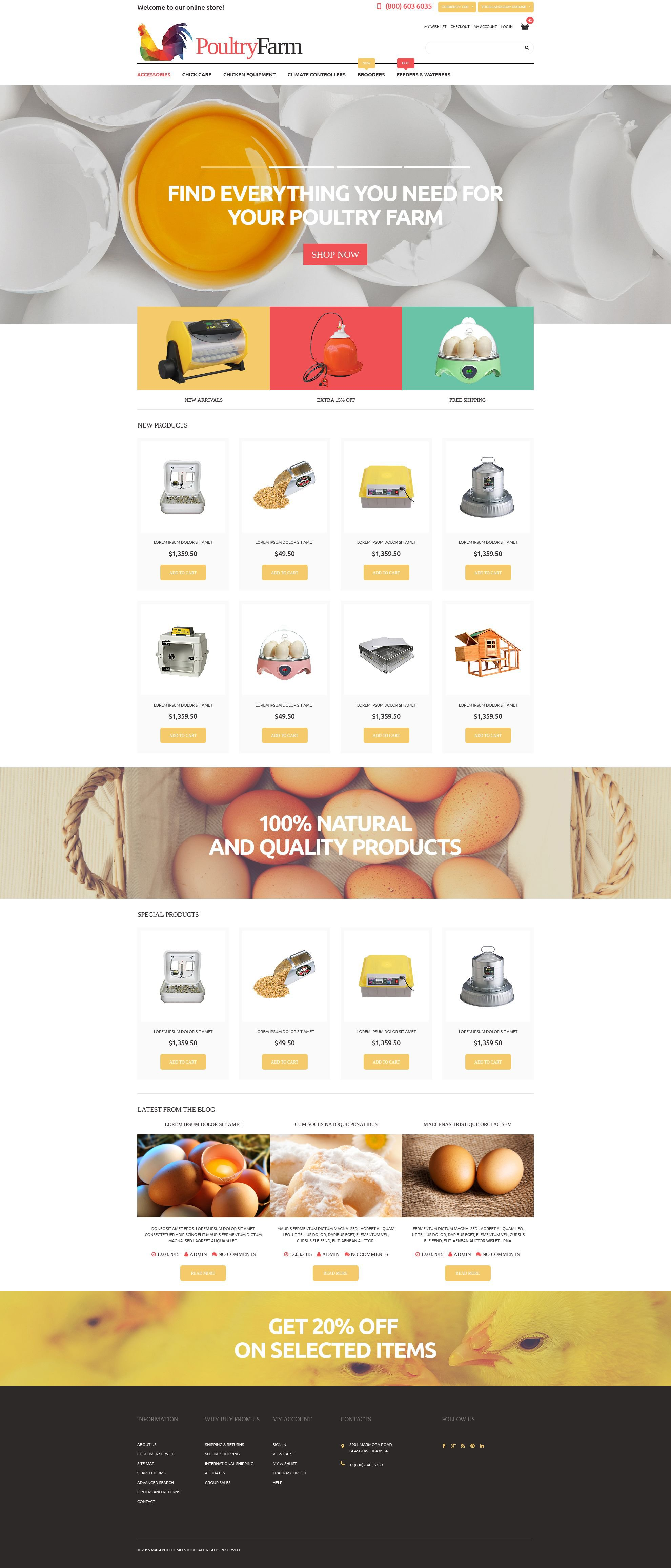 The Poultry Farm Magento Design 52990, one of the best Magento themes of its kind (agriculture, most popular), also known as poultry farm Magento template, supplies Magento template, ponltry Magento template, farm Magento template, egg Magento template, eggs Magento template, shell Magento template, pasteurized Magento template, food Magento template, yolk Magento template, protein Magento template, delicious Magento template, recipe Magento template, nourishing Magento template, natural and related with poultry farm, supplies, ponltry, farm, egg, eggs, shell, pasteurized, food, yolk, protein, delicious, recipe, nourishing, natural, etc.