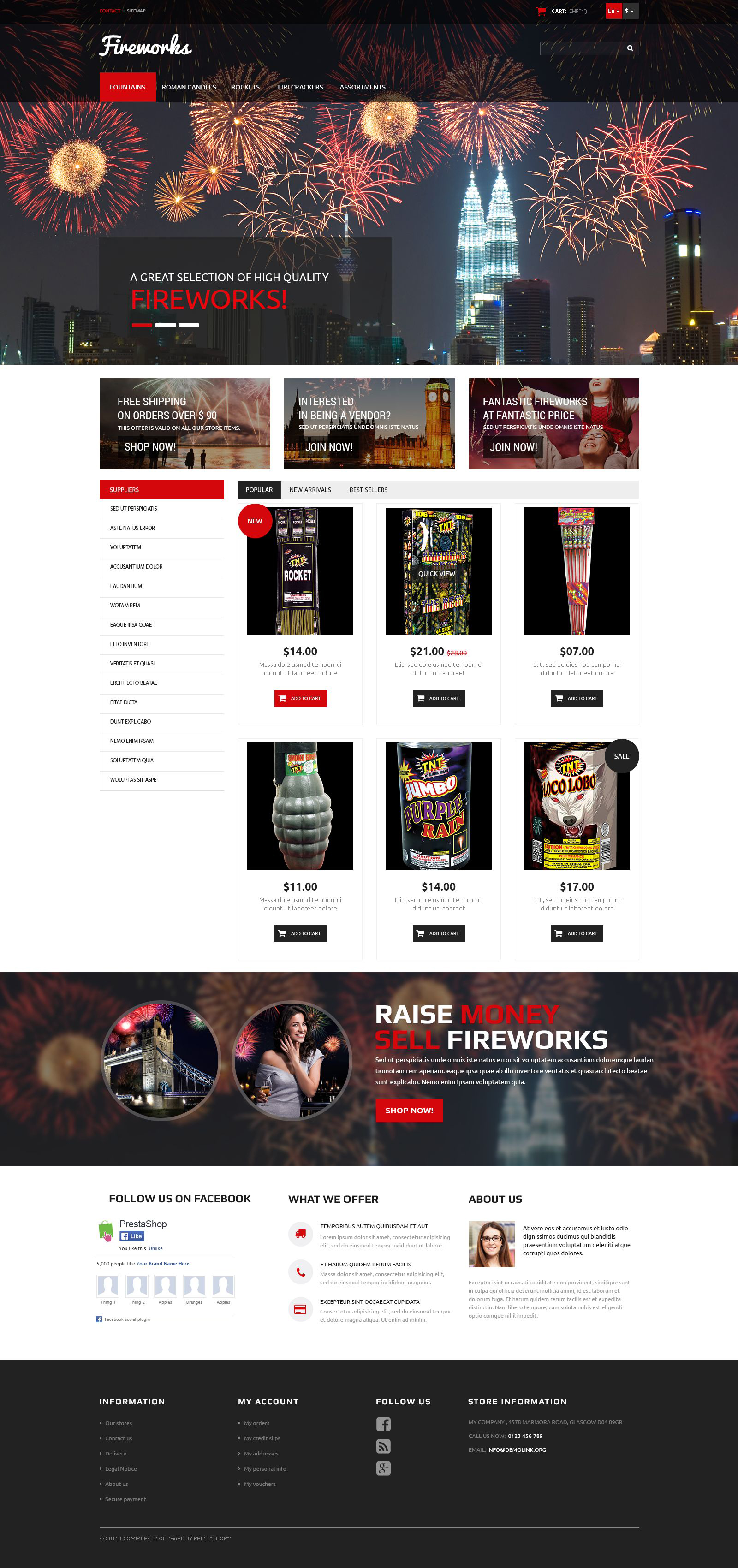 The Fireworks Store PrestaShop Design 52991, one of the best PrestaShop themes of its kind (entertainment, most popular), also known as fireworks store PrestaShop template, prices PrestaShop template, specials PrestaShop template, entertainment PrestaShop template, party and related with fireworks store, prices, specials, entertainment, party, etc.