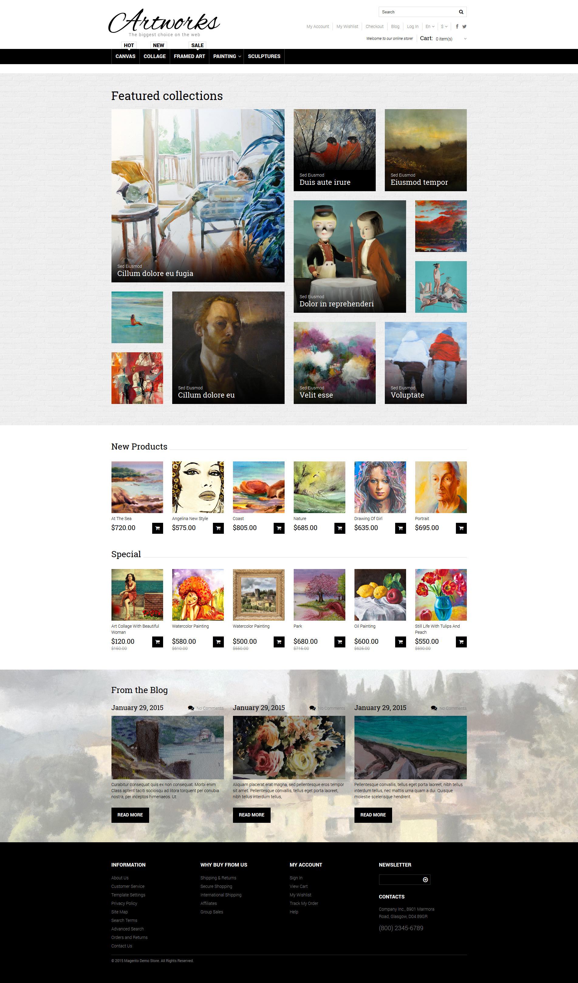 Адаптивний Magento шаблон на тему мистецький магазин №52963 - скріншот