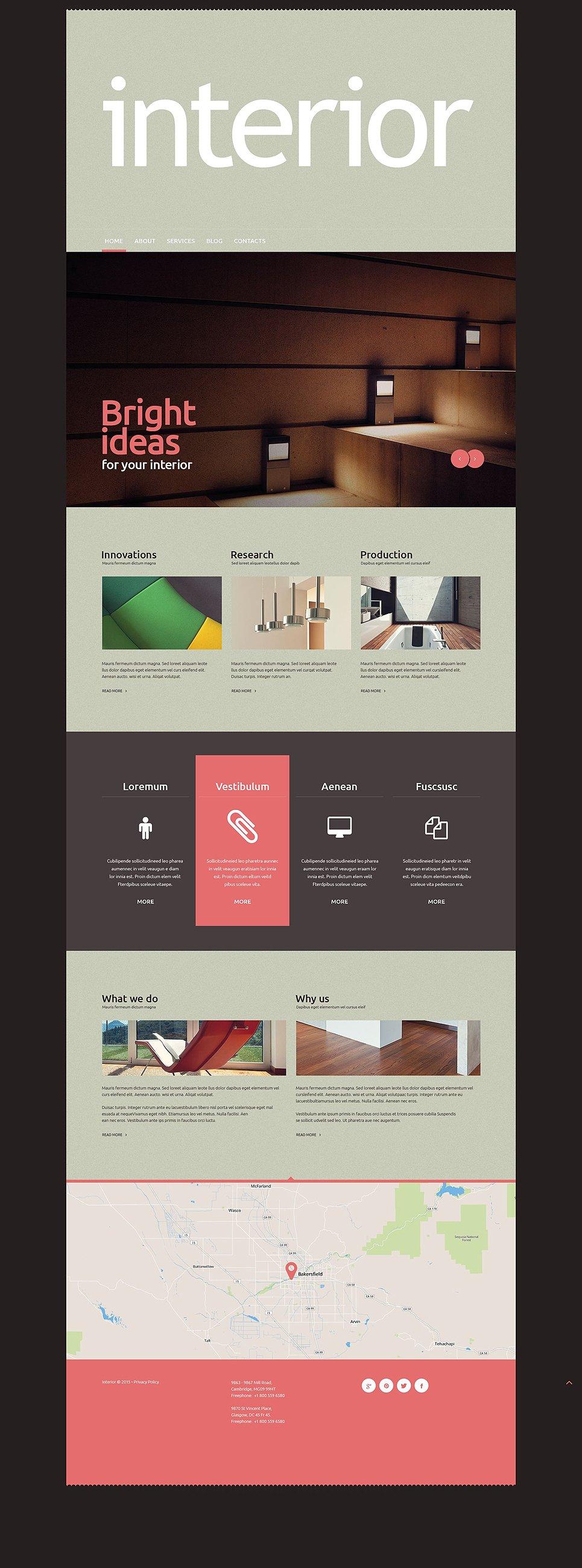 Адаптивный шаблон сайта на тему дизайн и интерьер #52948