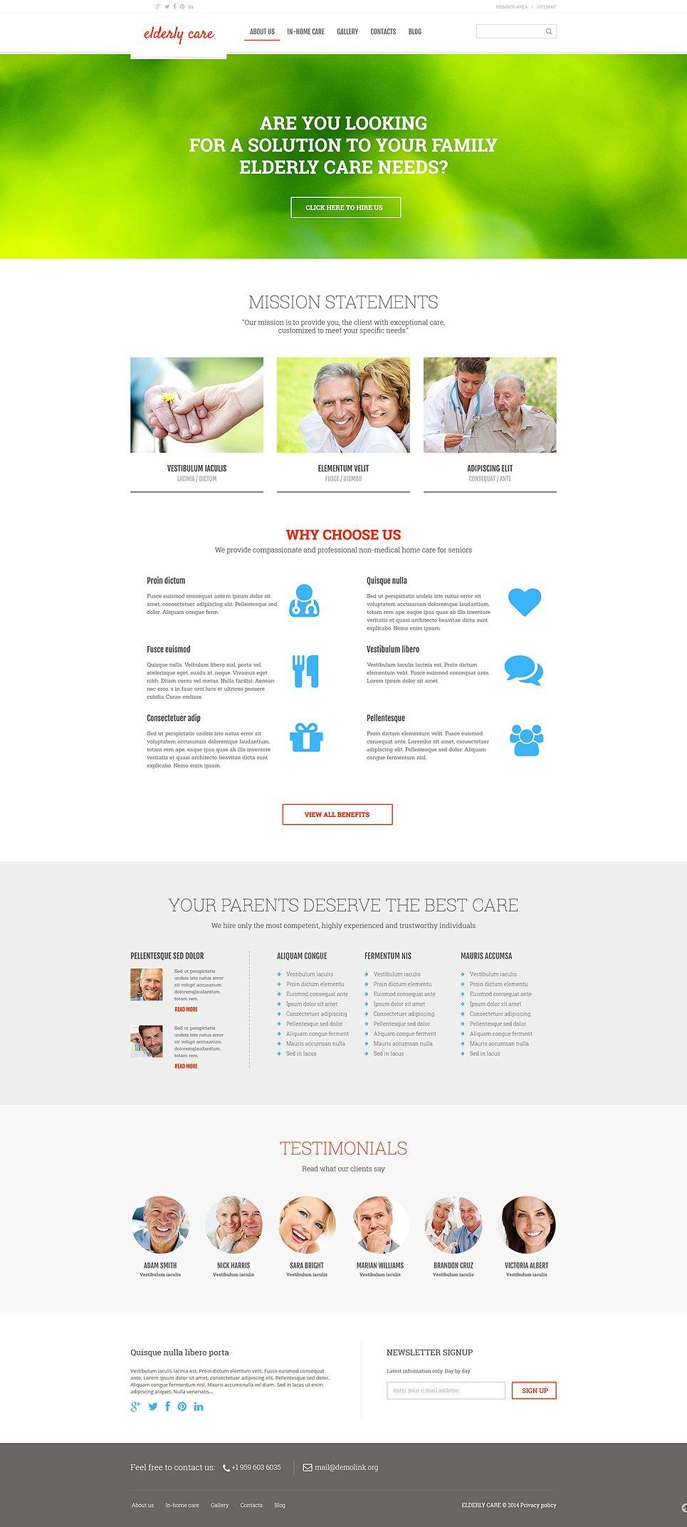 Адаптивный шаблон сайта на тему уход за престарелыми #52970