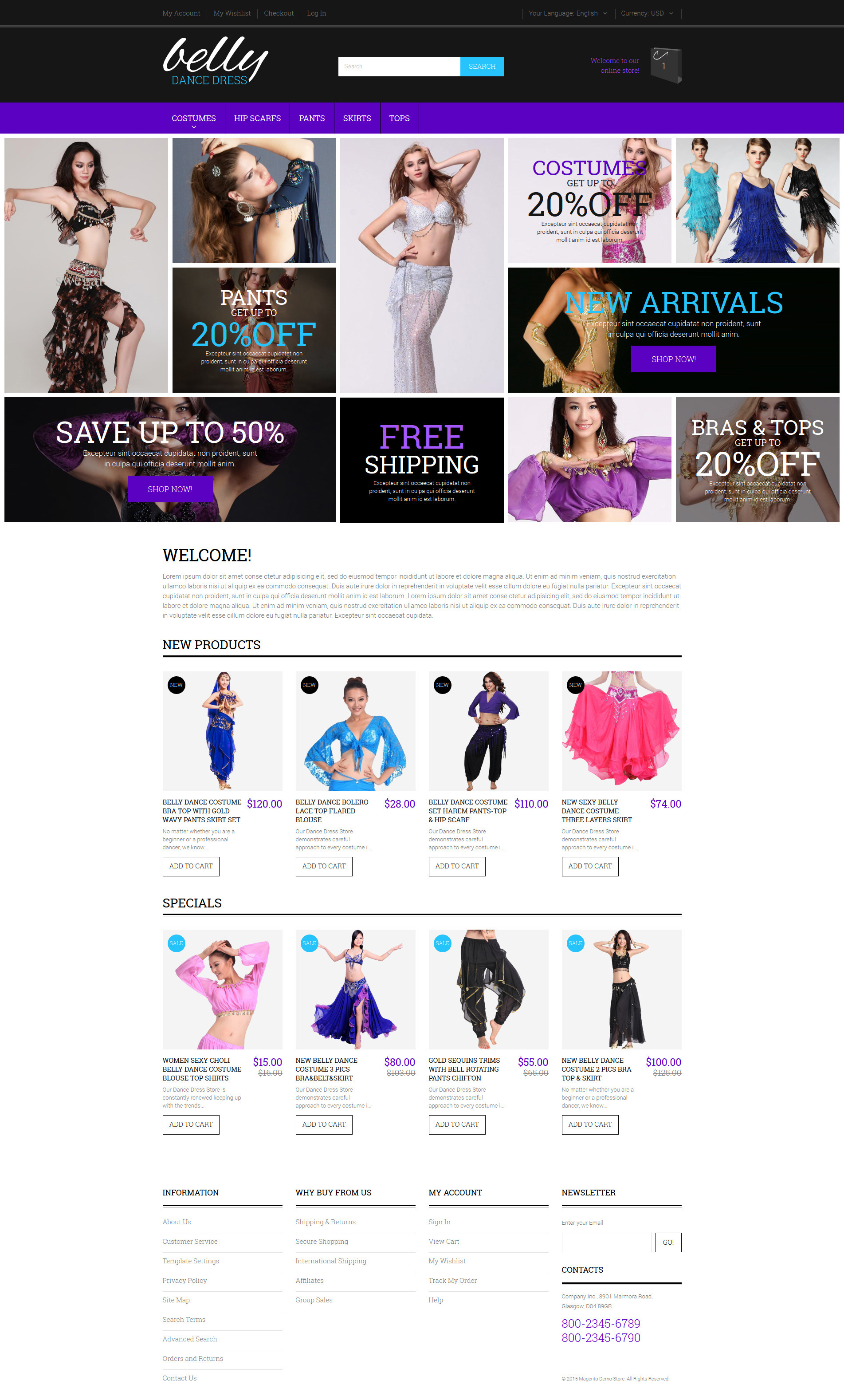 Belly Dance Costumes Magento Theme