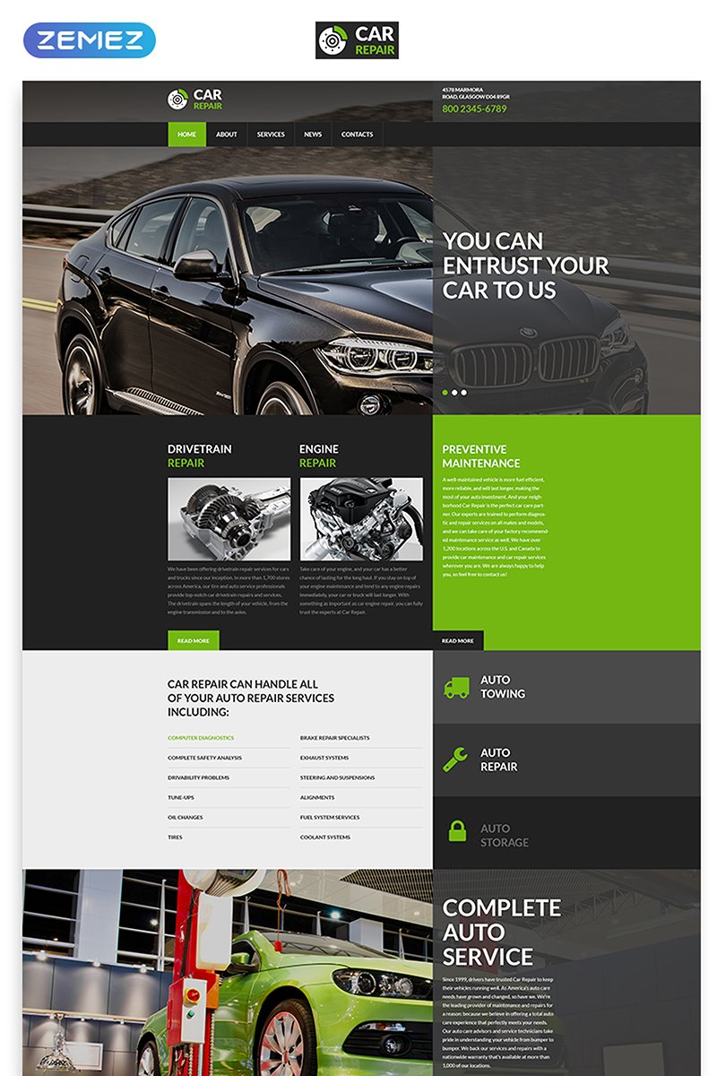 Car Repair - Auto Service Responsive Creative HTML Website Template