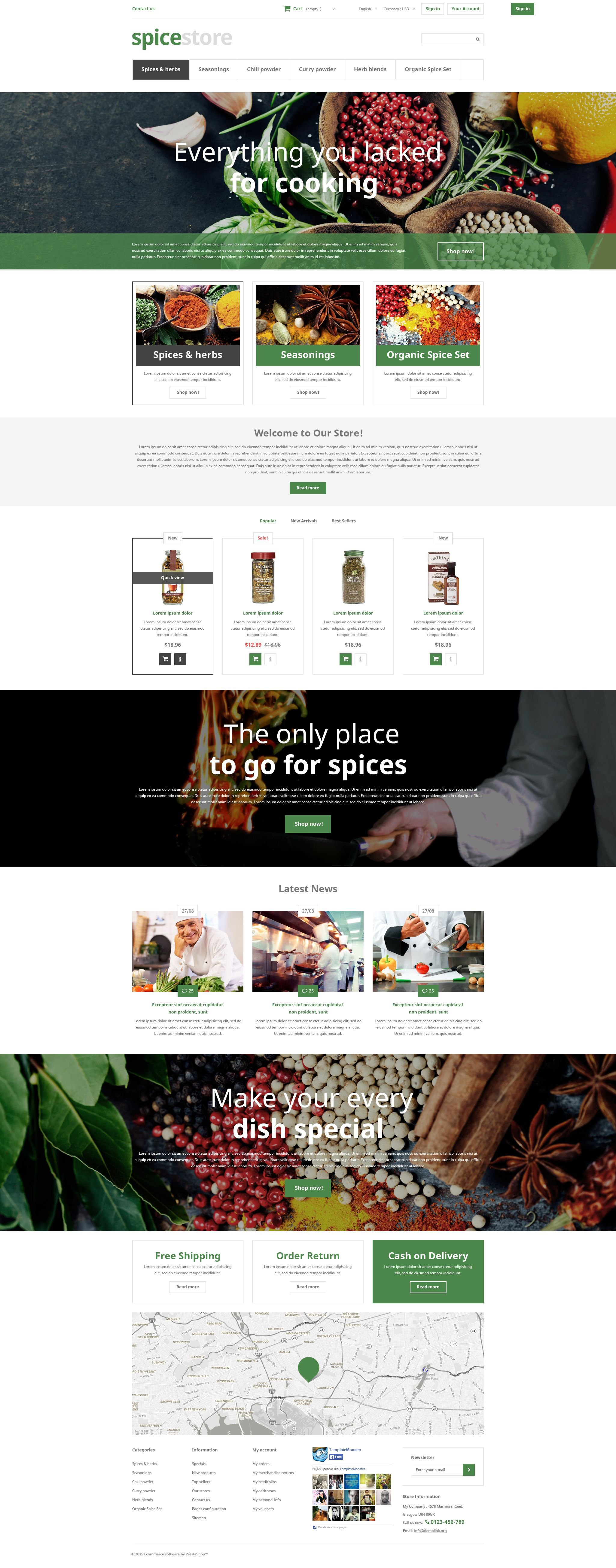 """Clean ecommerce store spicy flavour shop cook pepper salt powder blend cinnamon dried herbs"" - адаптивний PrestaShop шаблон №52962"