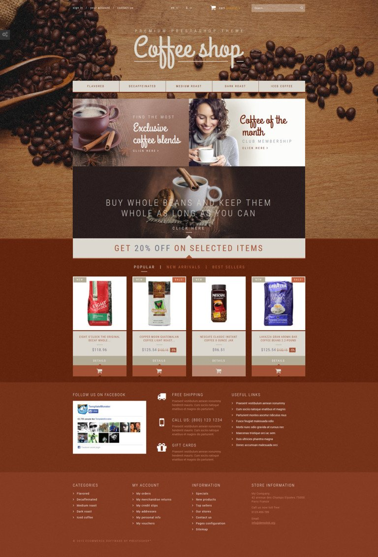 Coffee Aroma PrestaShop Theme New Screenshots BIG