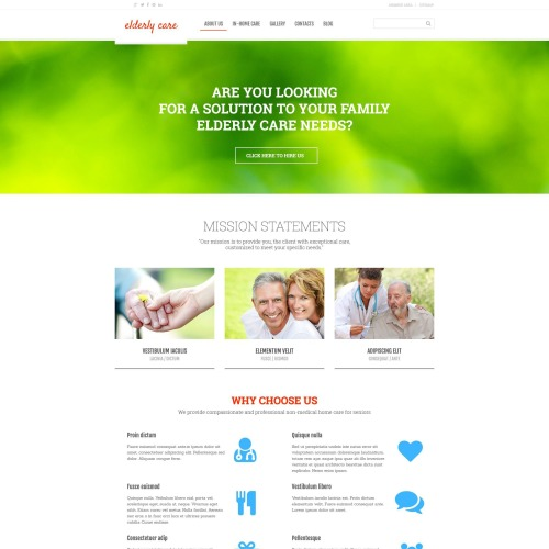 Elderly Care - WordPress Template based on Bootstrap