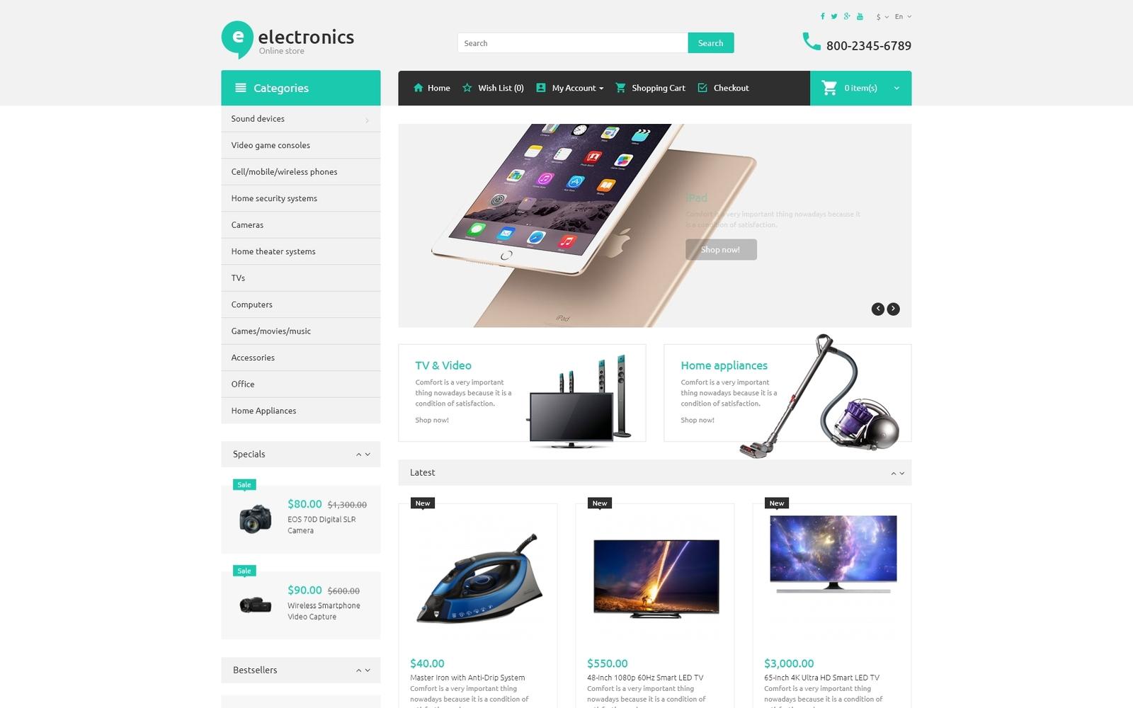 """Electronic Store"" - адаптивний OpenCart шаблон №52995"