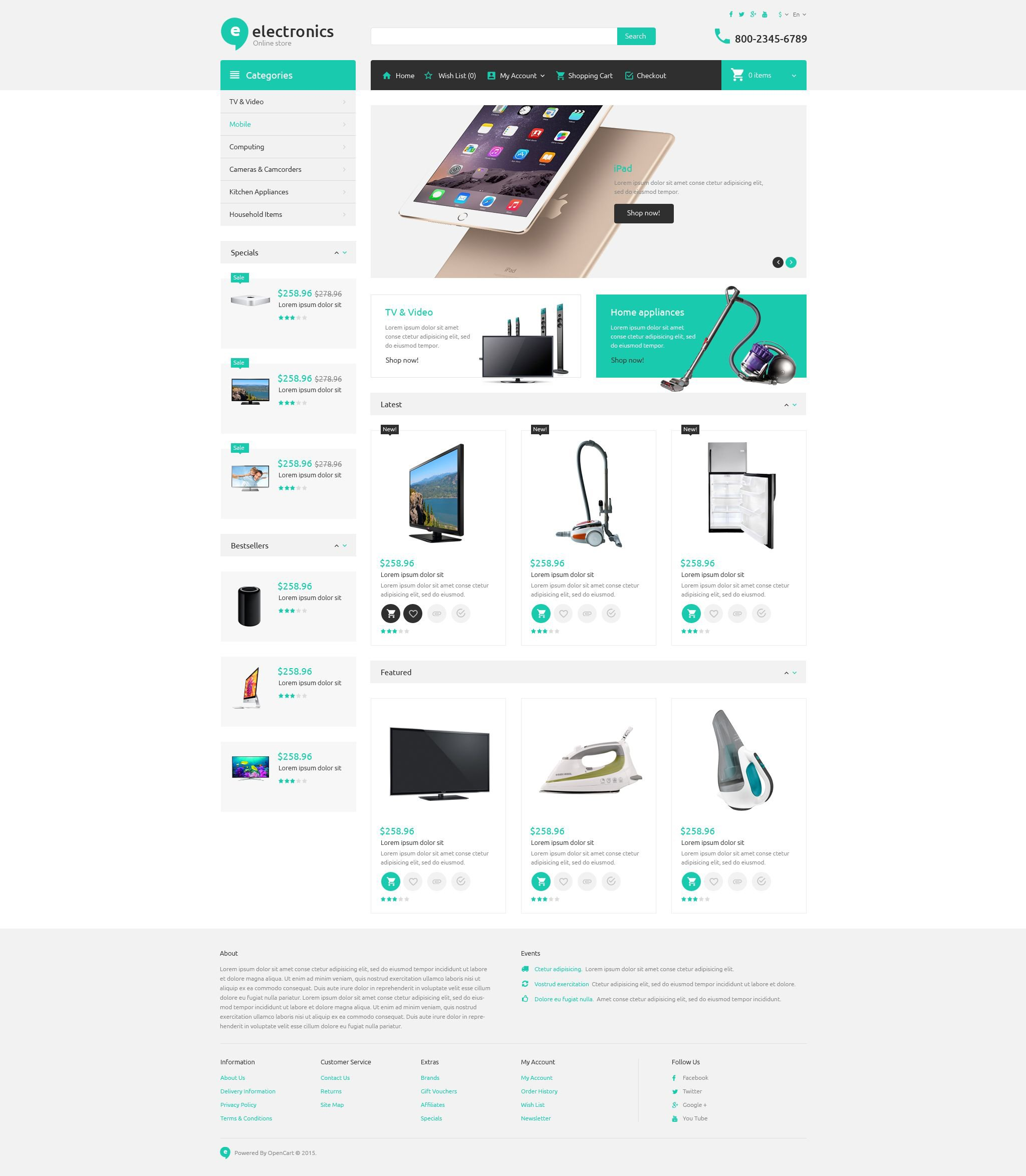 Electronic store opencart theme for Good sites for online shopping