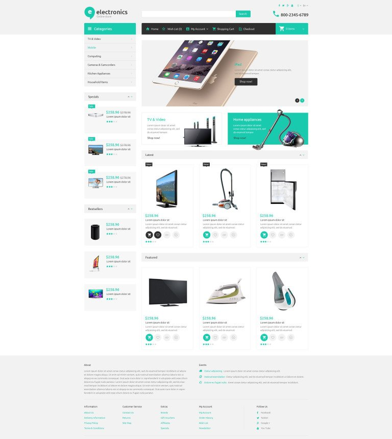 Ecommerce Templates Template Monster - Invoice html template bootstrap free download online layaway stores
