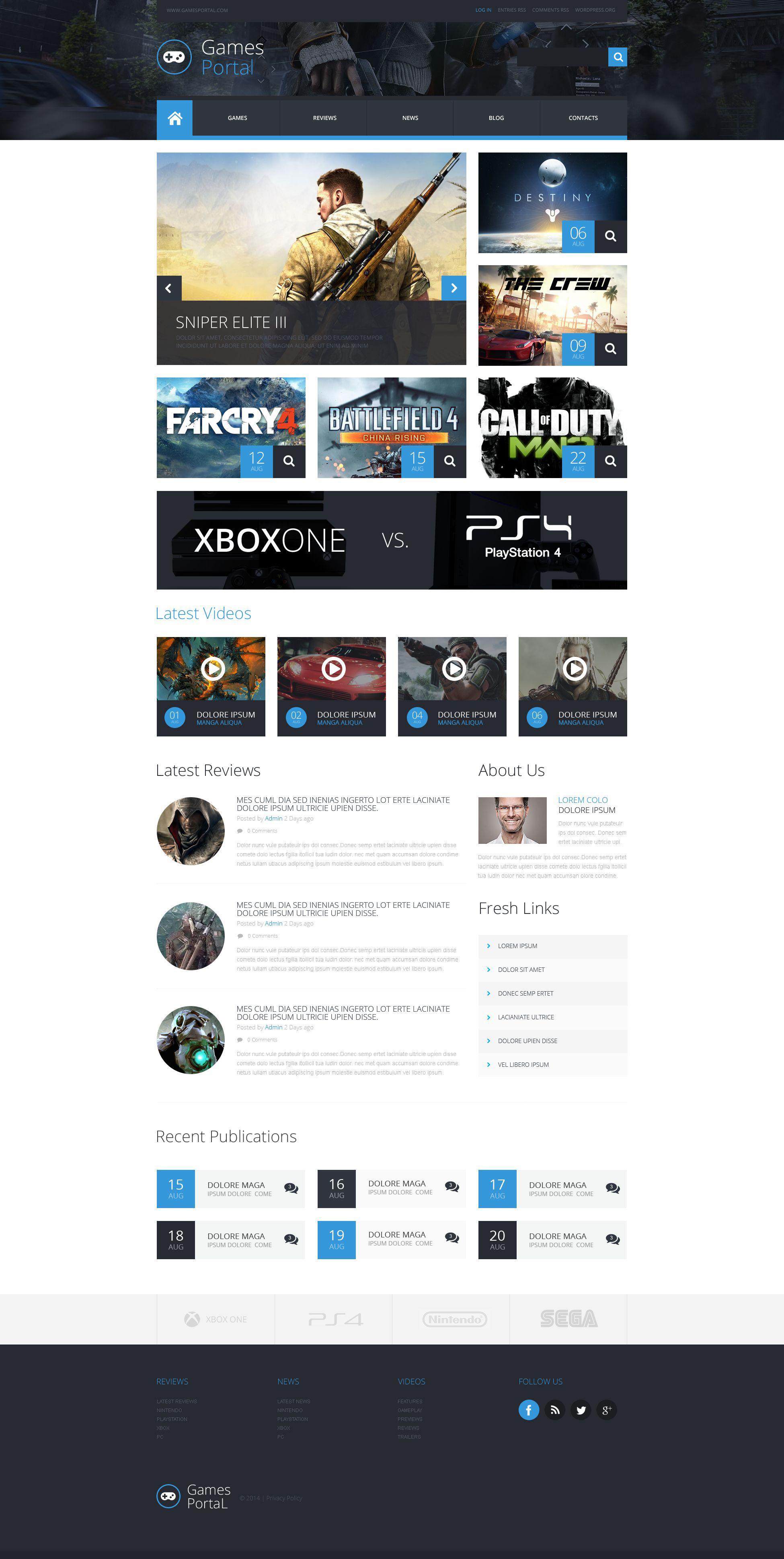 """""""Game Portal"""" 响应式WordPress模板 #52906"""