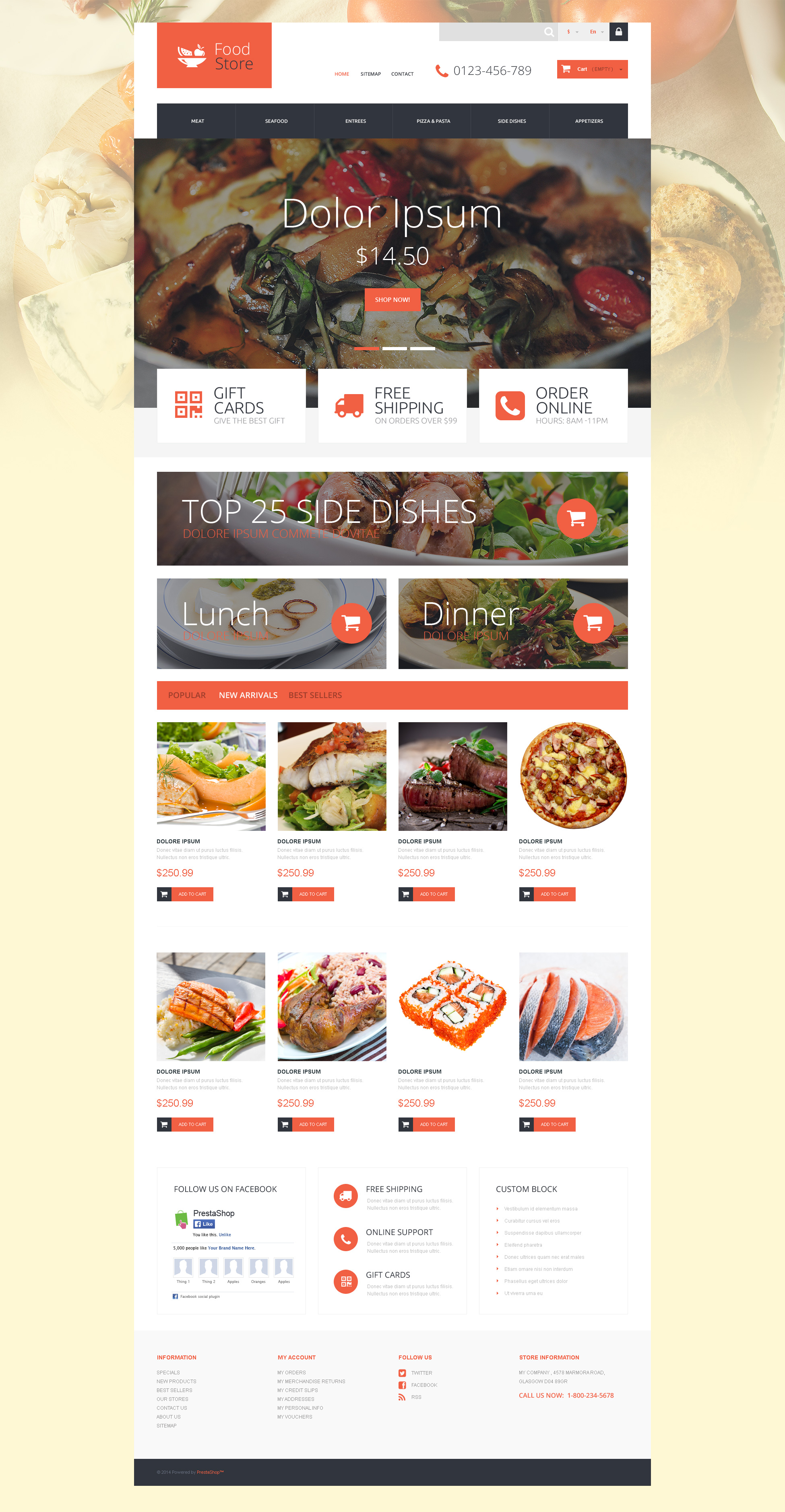 """Gourmand"" thème PrestaShop adaptatif #52927"
