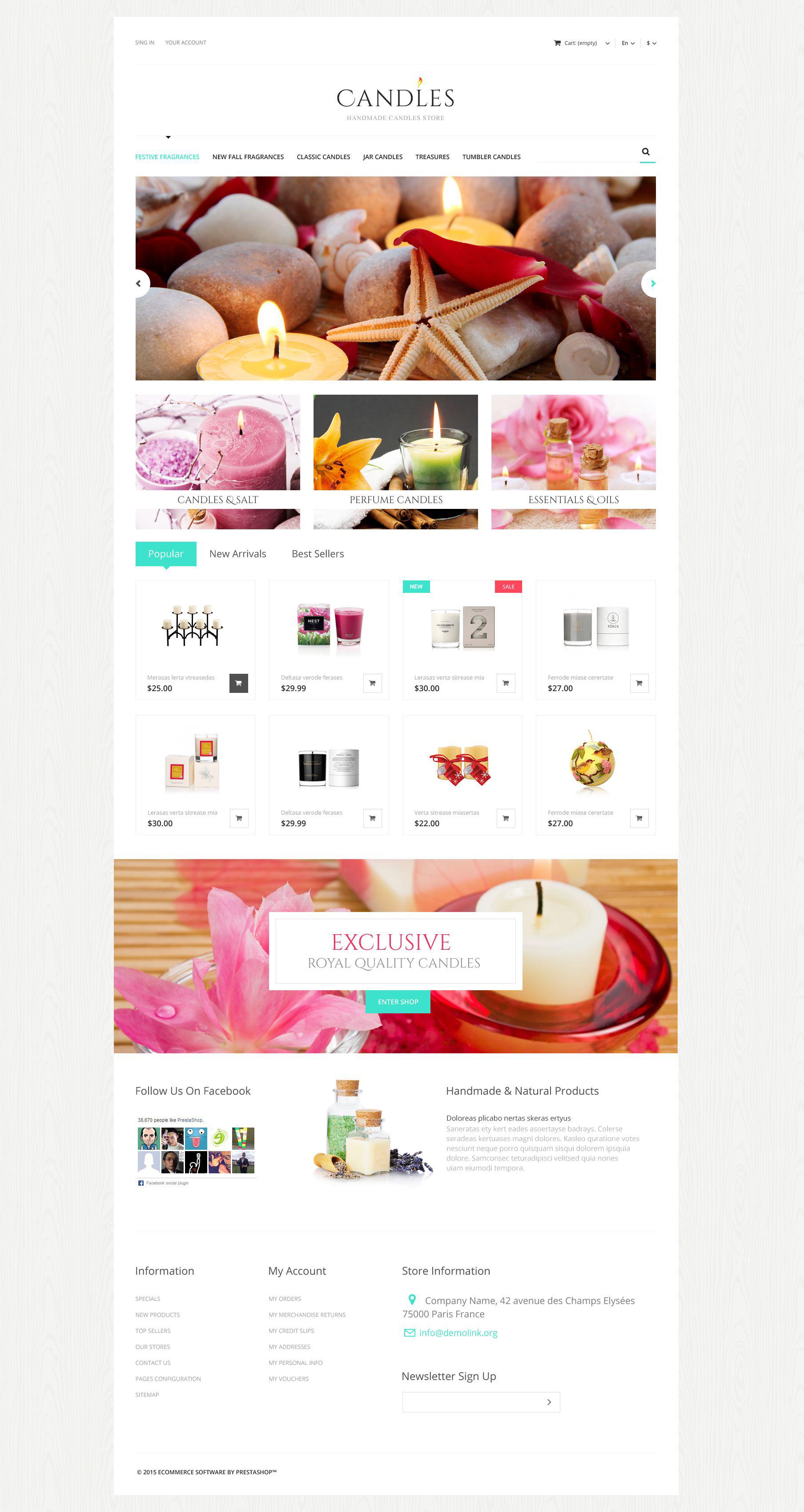 """Handmade Candles Store"" - адаптивний PrestaShop шаблон №52957"
