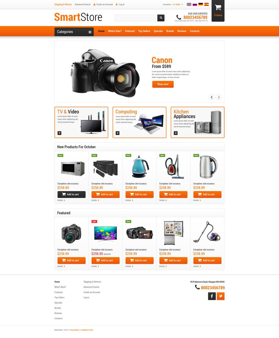 Home Electronics OsCommerce Template New Screenshots BIG