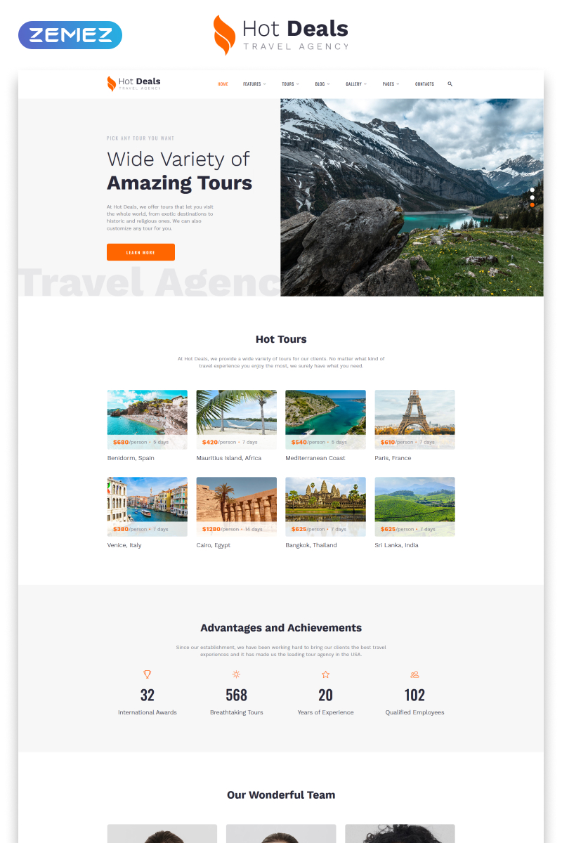"""""""Hot Deals - Travel Agency Clean Multipage HTML"""" 响应式网页模板 #52960"""
