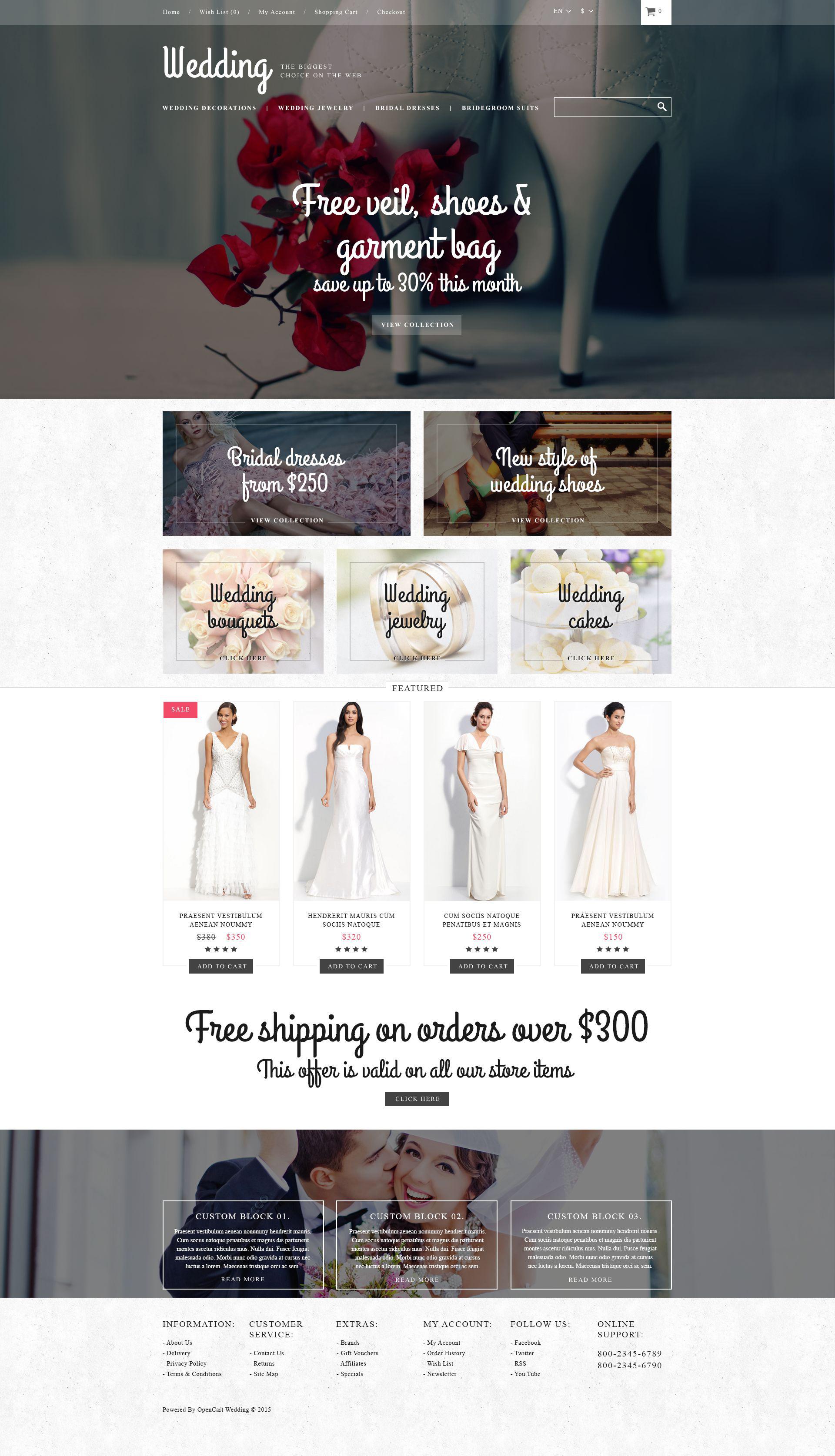 """""""Magasin de mariage"""" thème OpenCart adaptatif #52969"""