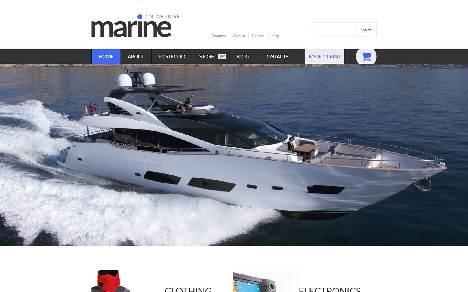 """Marine Shop"" Responsive WooCommerce Thema №52918"
