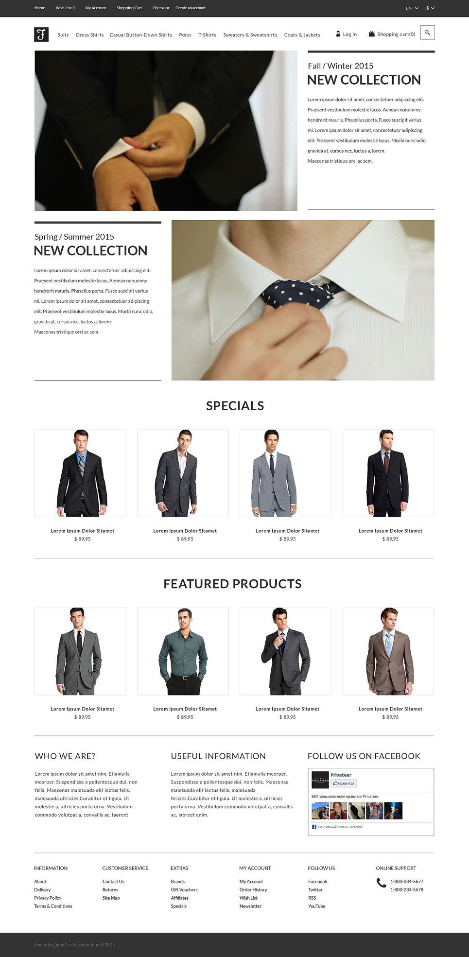 Men's Corporate Fashion Shop OpenCart Template New Screenshots BIG