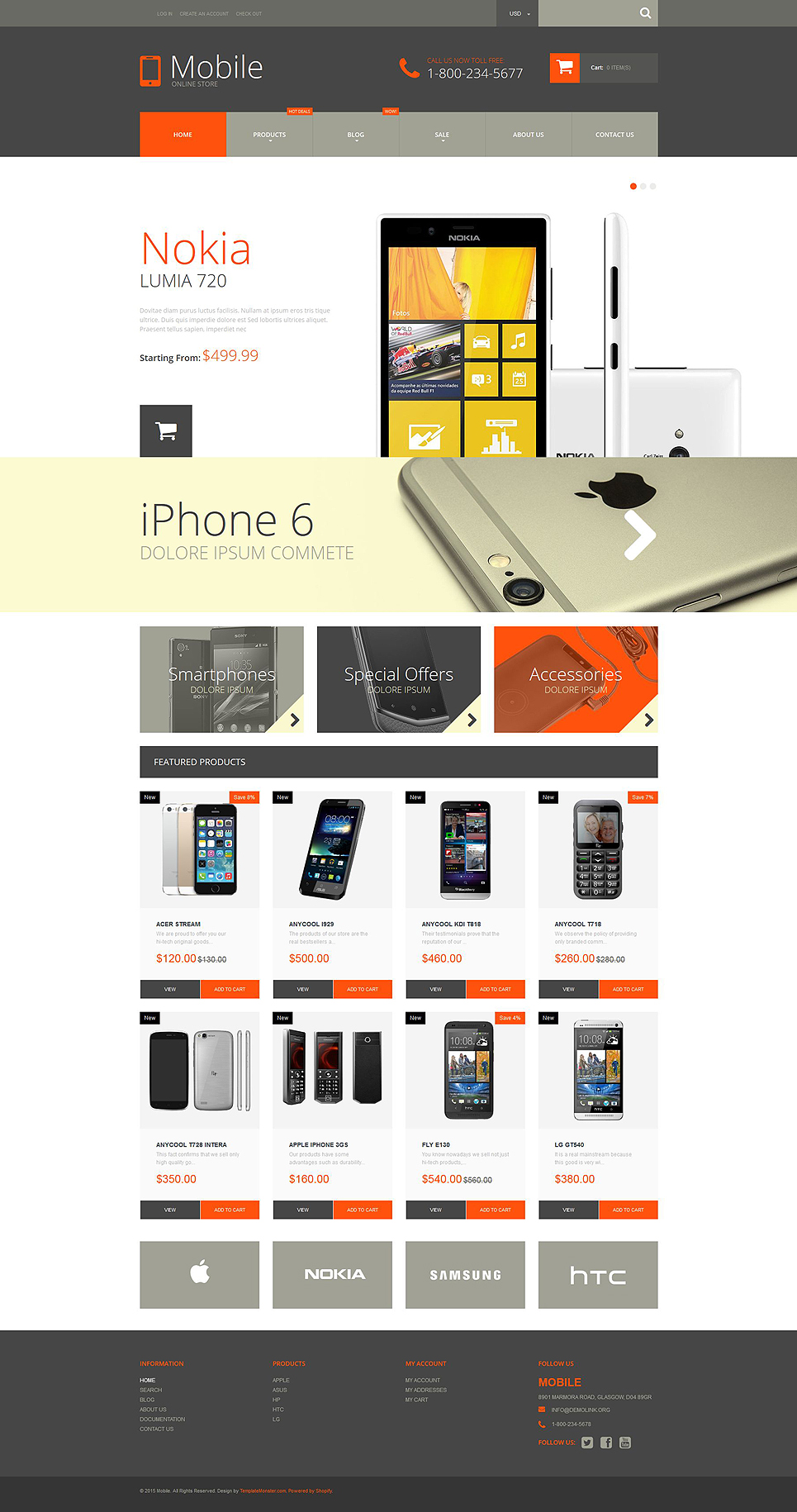 Mobile phones shopify theme 52932 for Free shopify templates