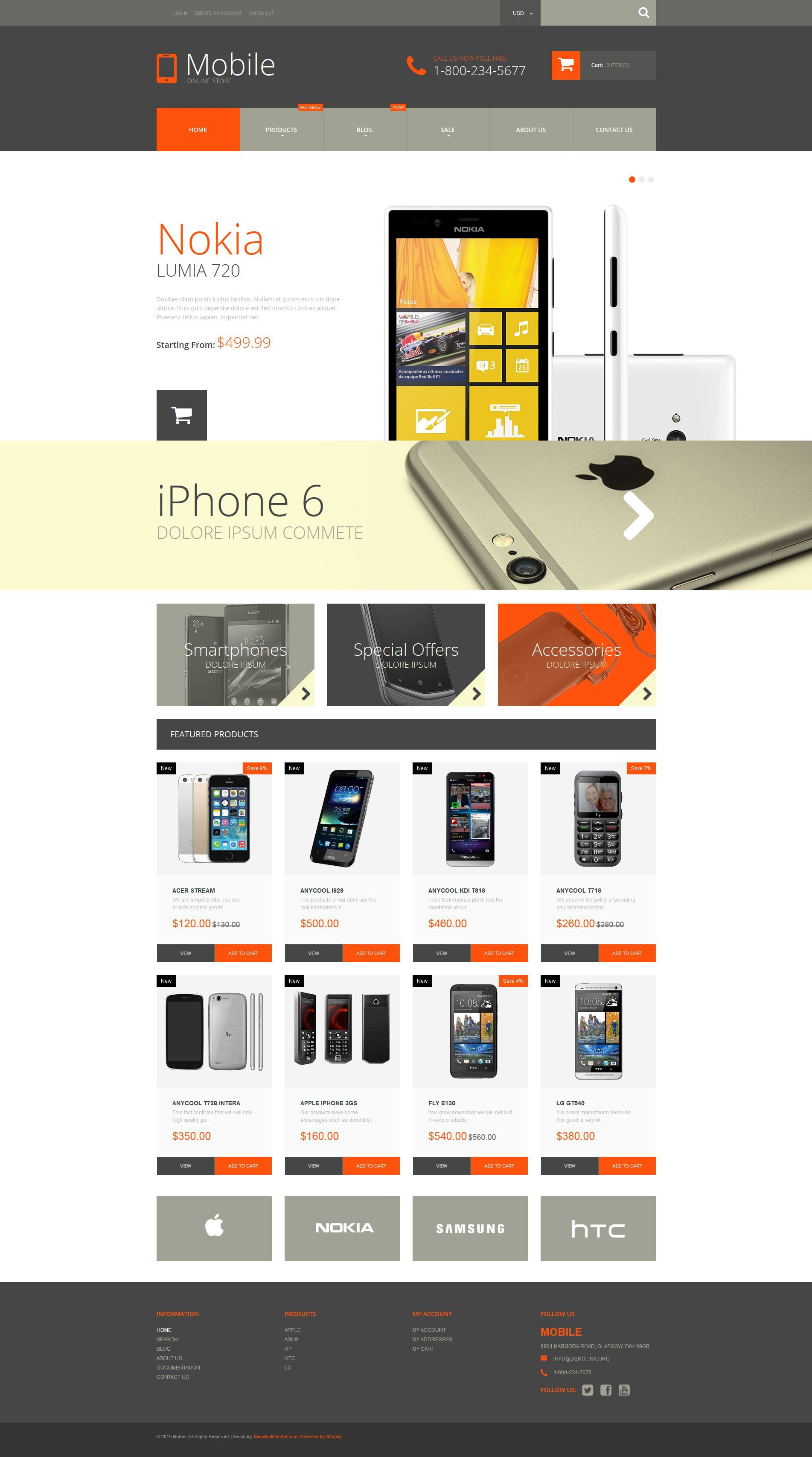 Mobile Phones Shopify Theme - Shopify design templates