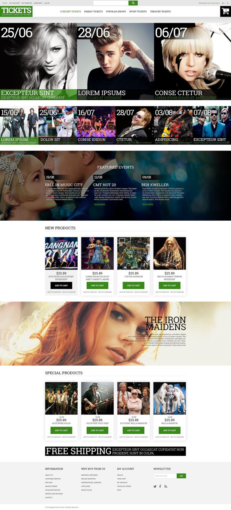 Music Ticket Broker Magento Theme New Screenshots BIG