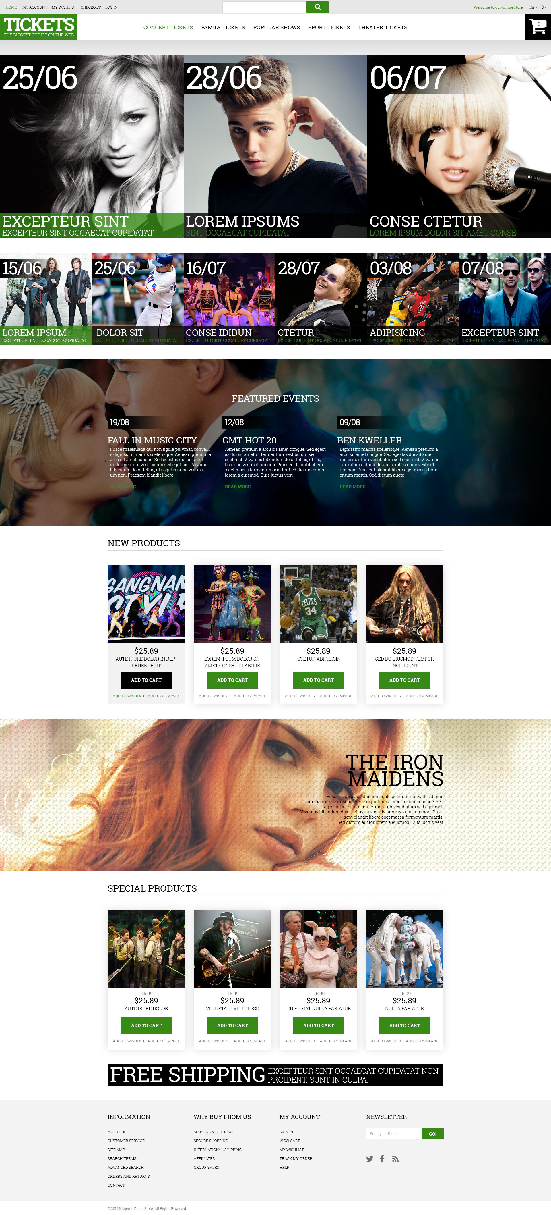 Music Ticket Broker Magento Theme