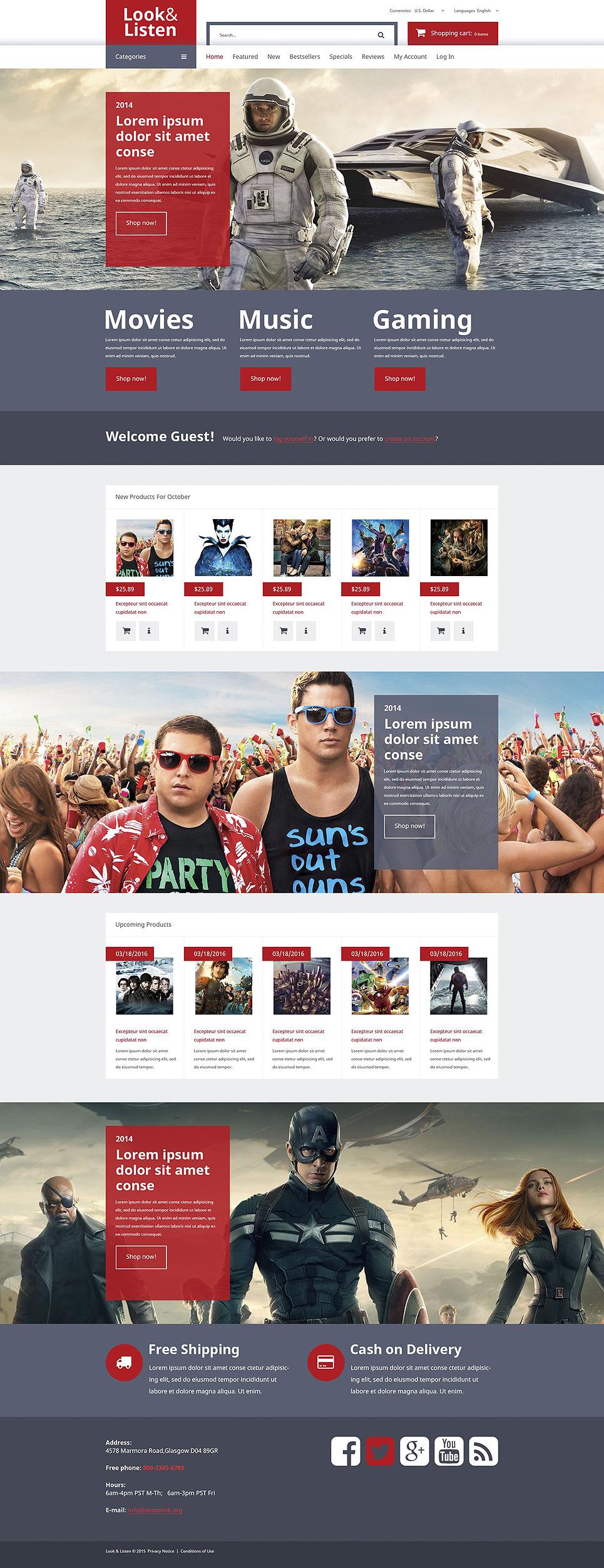 Music Video Entertainment OsCommerce Template New Screenshots BIG