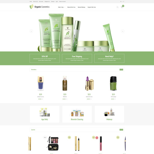 Organic Cosmetics - OpenCart Template based on Bootstrap