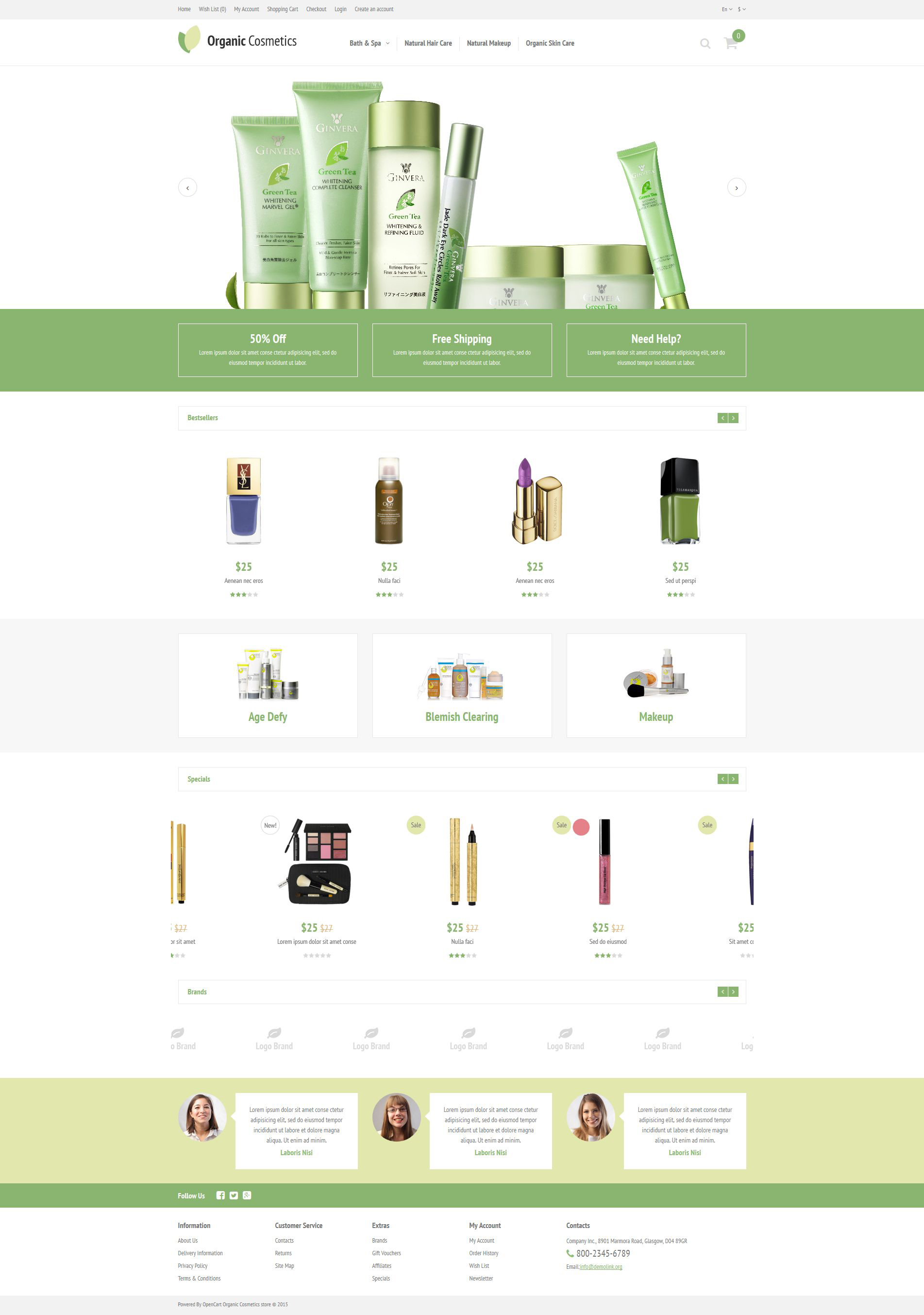 """Organic Cosmetics"" 响应式OpenCart模板 #52968"
