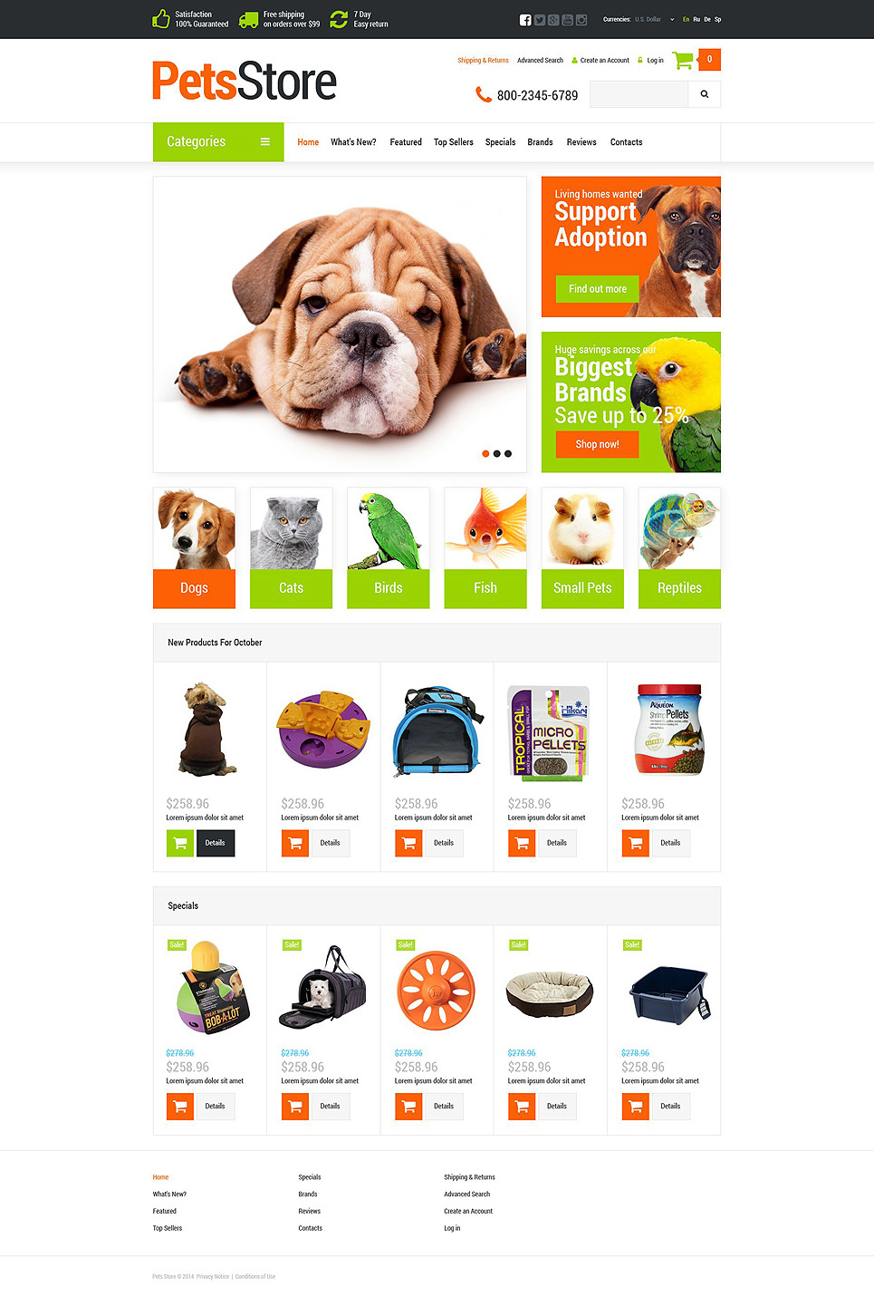 Pets Supplies Shop OsCommerce Template New Screenshots BIG