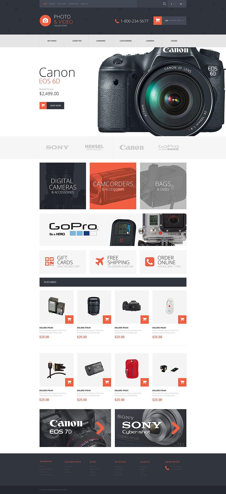 Photo and Video Stuff OpenCart Template New Screenshots BIG