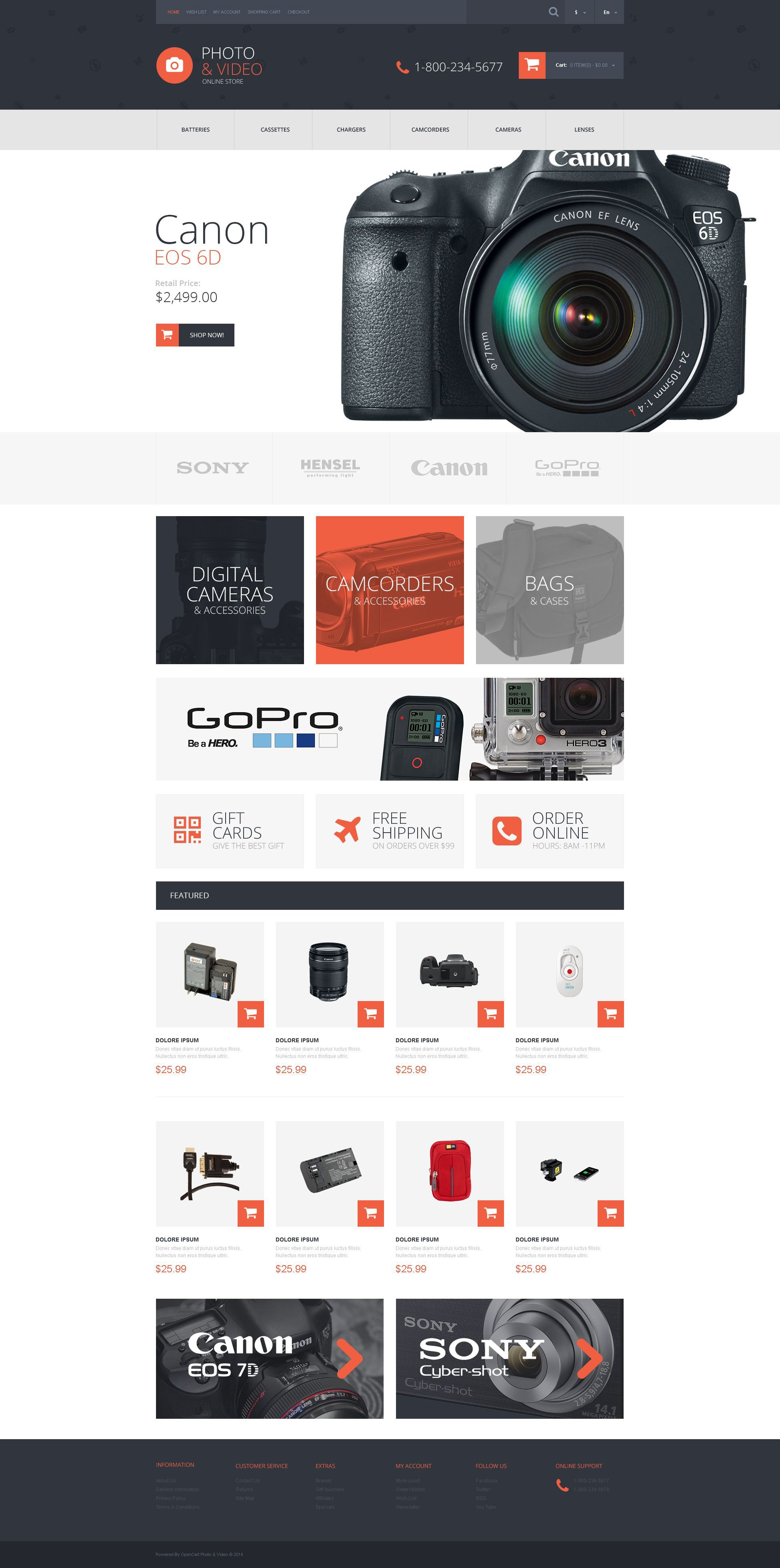 Photo and Video Stuff OpenCart Template