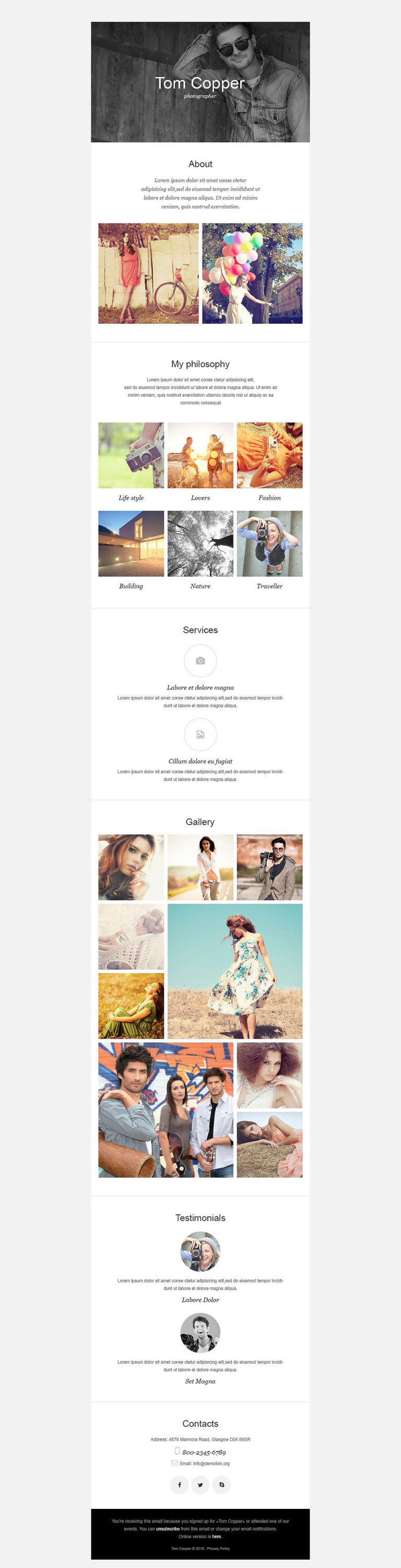 Photographer Portfolio Responsive Newsletter Template New Screenshots BIG