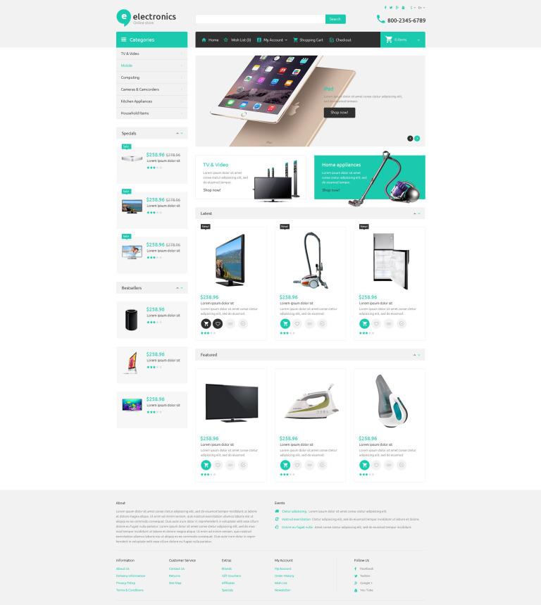 Plantilla OpenCart #52995 para Sitio de Tienda de Electrónica