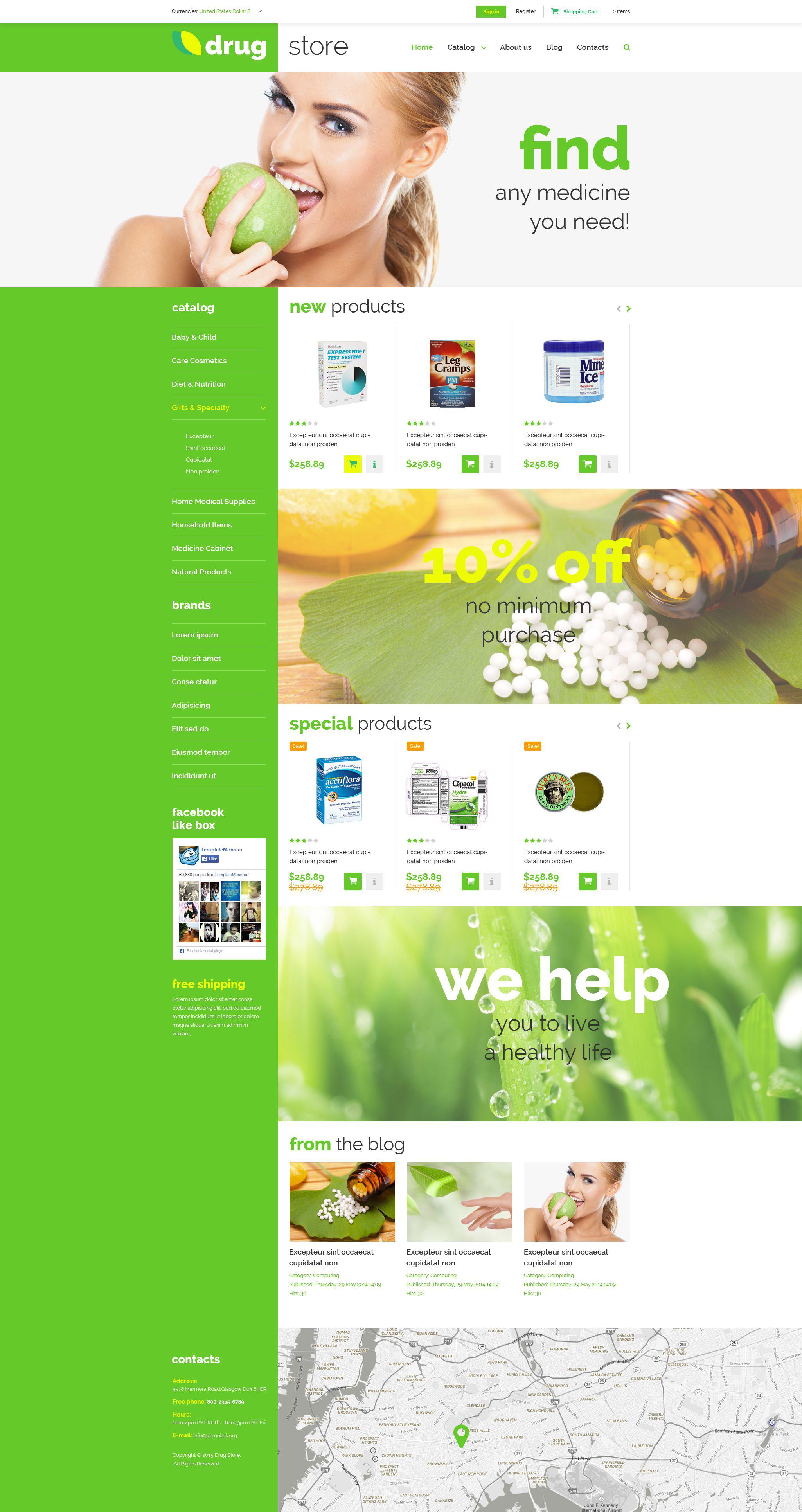 """Plantilla VirtueMart """"Farmacia"""" #52955"""