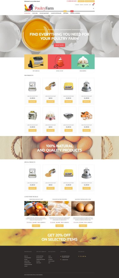 Poultry Farm Supplies Store Magento Theme