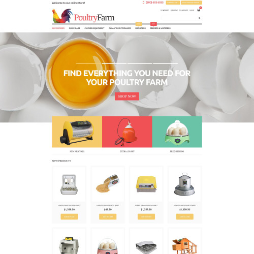 Poultry Farm  - Magento Template based on Bootstrap