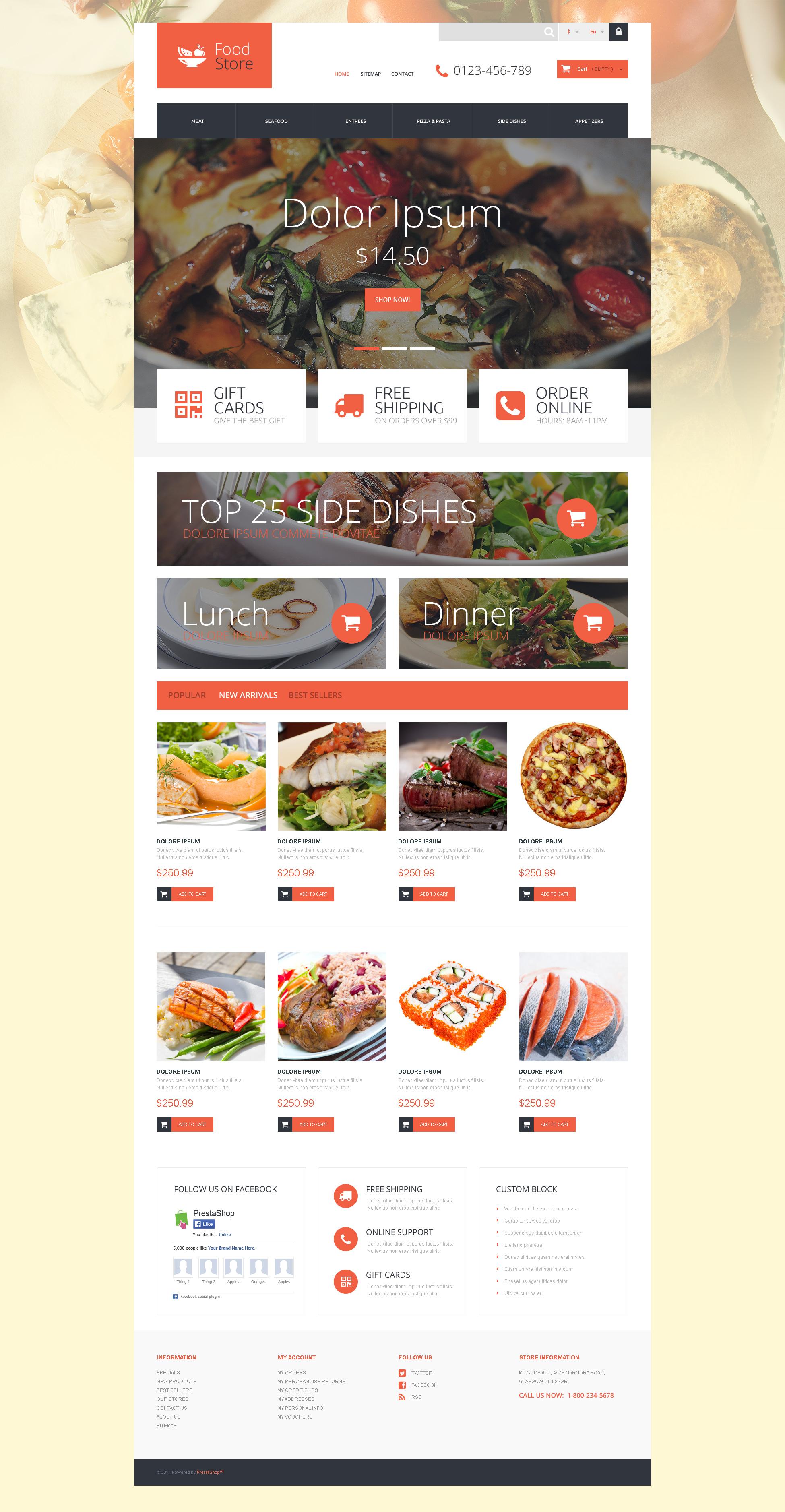 """PrestaShop Theme namens """"Gourmet"""" #52927 - Screenshot"""