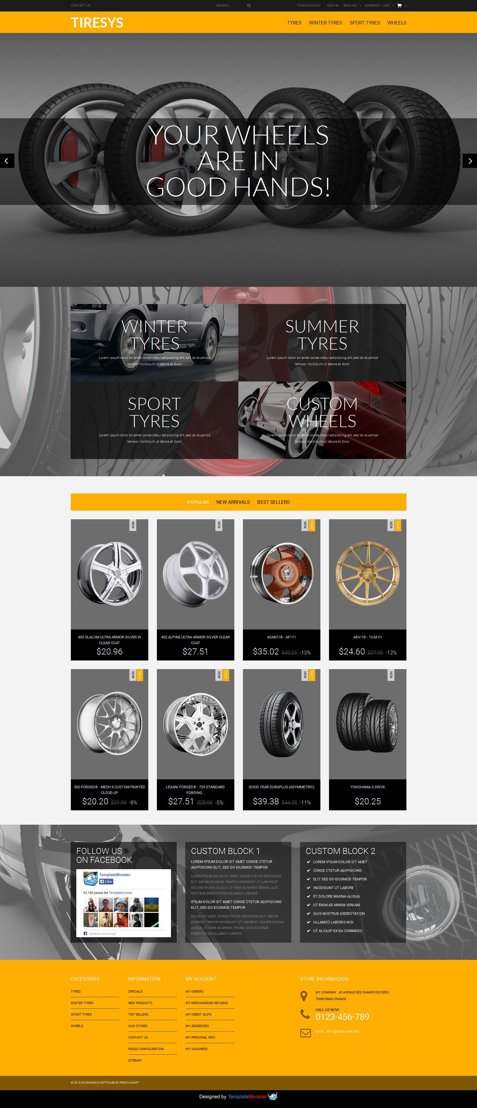 """PrestaShop Theme namens """"Kostenloses PrestaShop Theme zum Thema Reifen und Räder"""" #52940"""