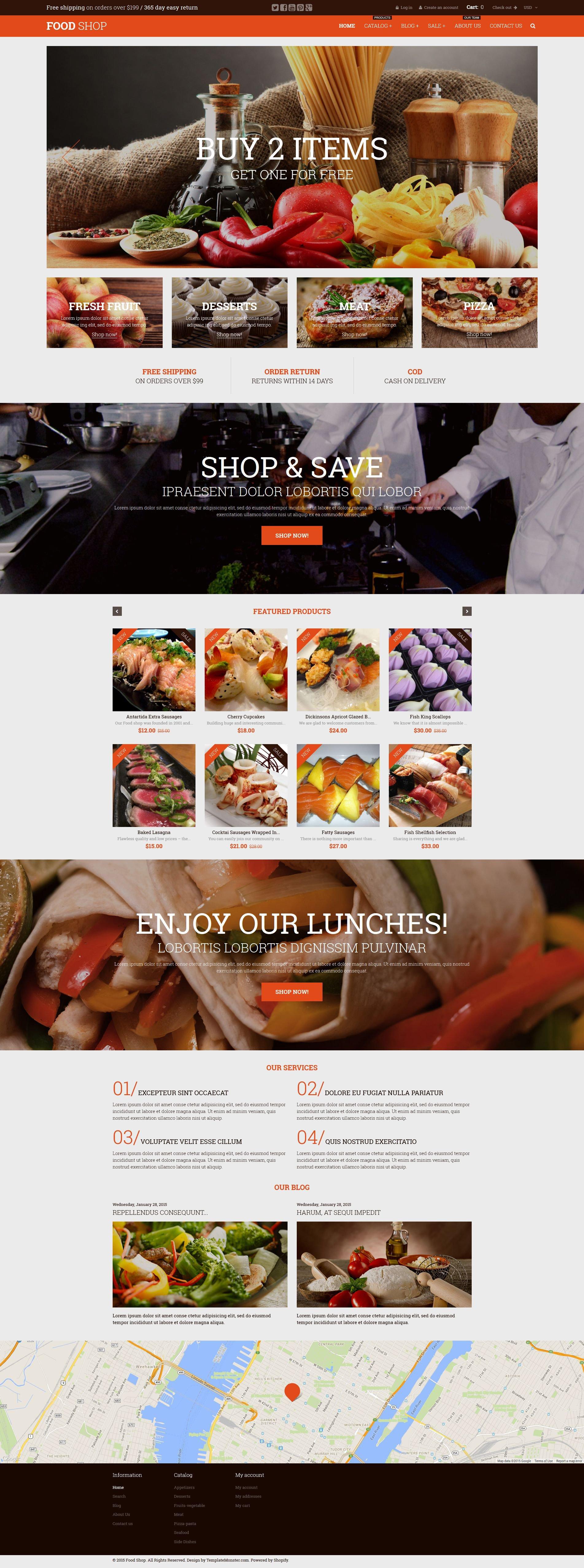 Responsive Food Shop Shopify #52935