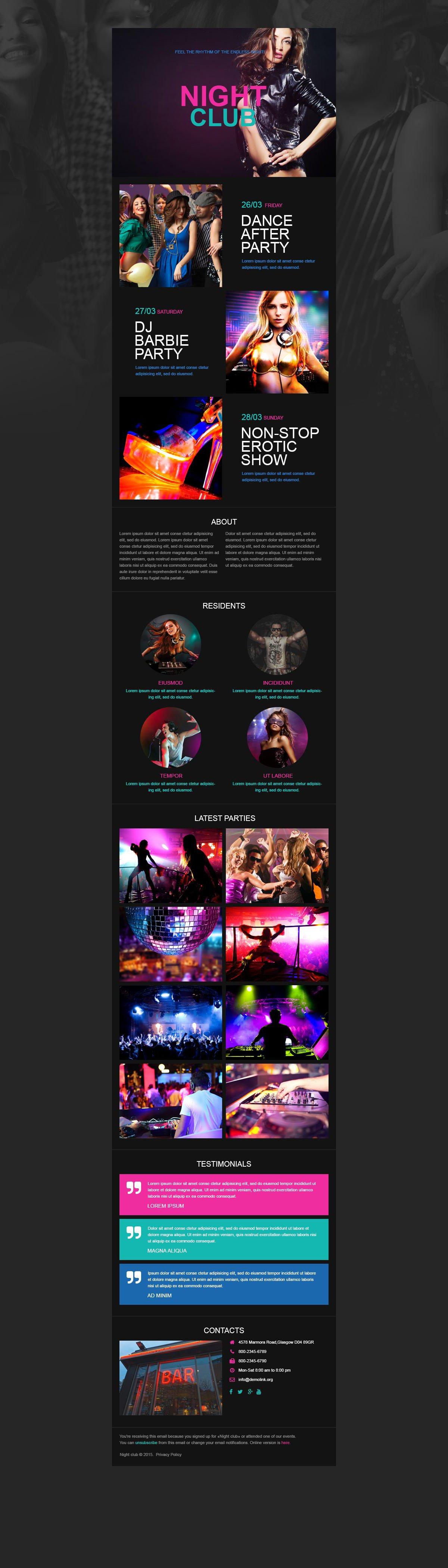 Responsive Newsletter Vorlage für Nachtclub #52966