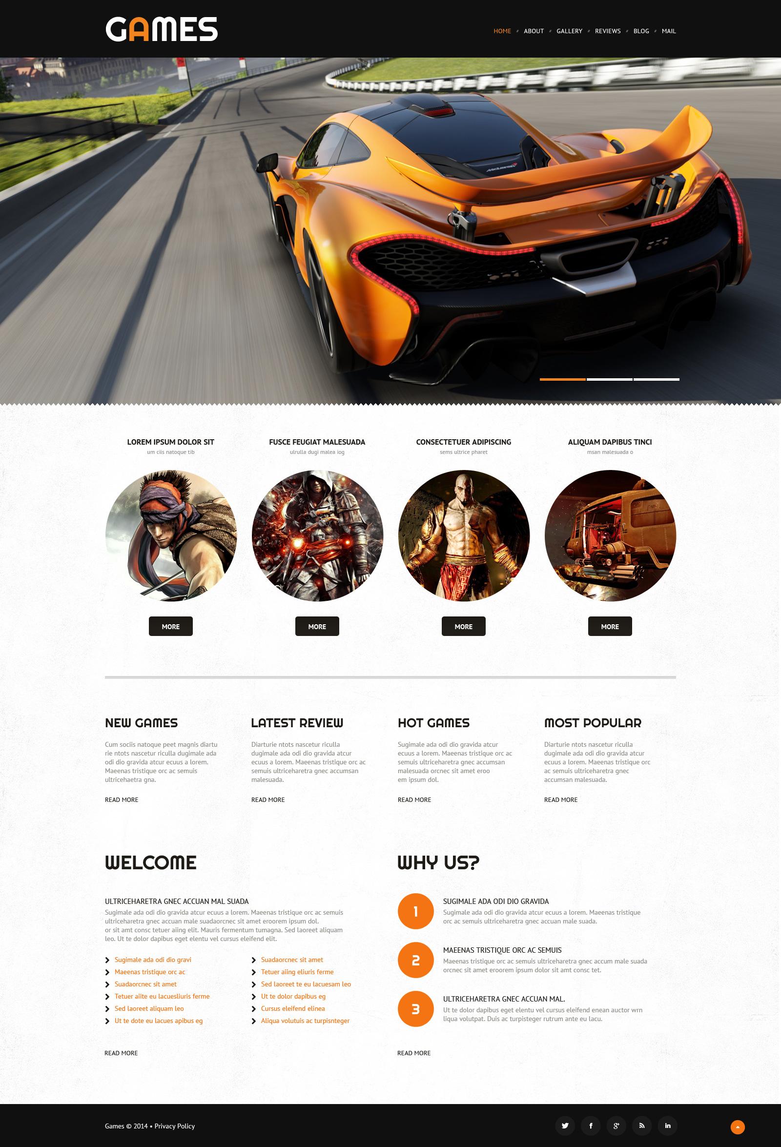 Responsive WordPress thema over Game portal №52997 - screenshot