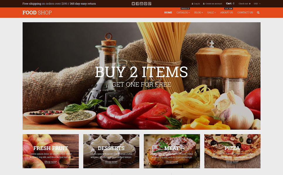 Responsive Yiyecek Mağazası  Shopify Teması New Screenshots BIG