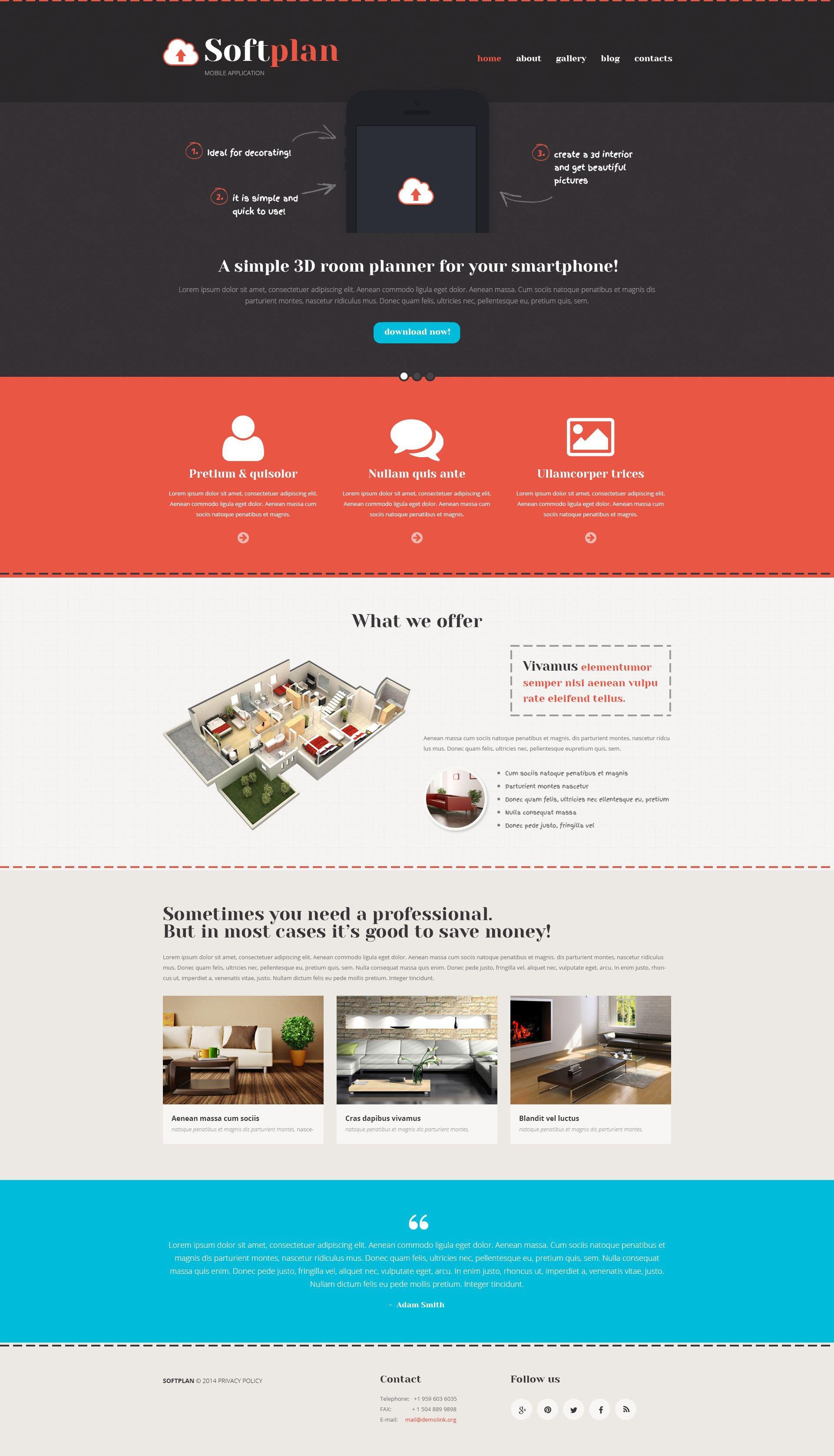 """Responzivní WordPress motiv """"Mobile Apps Promotion"""" #52951 - screenshot"""
