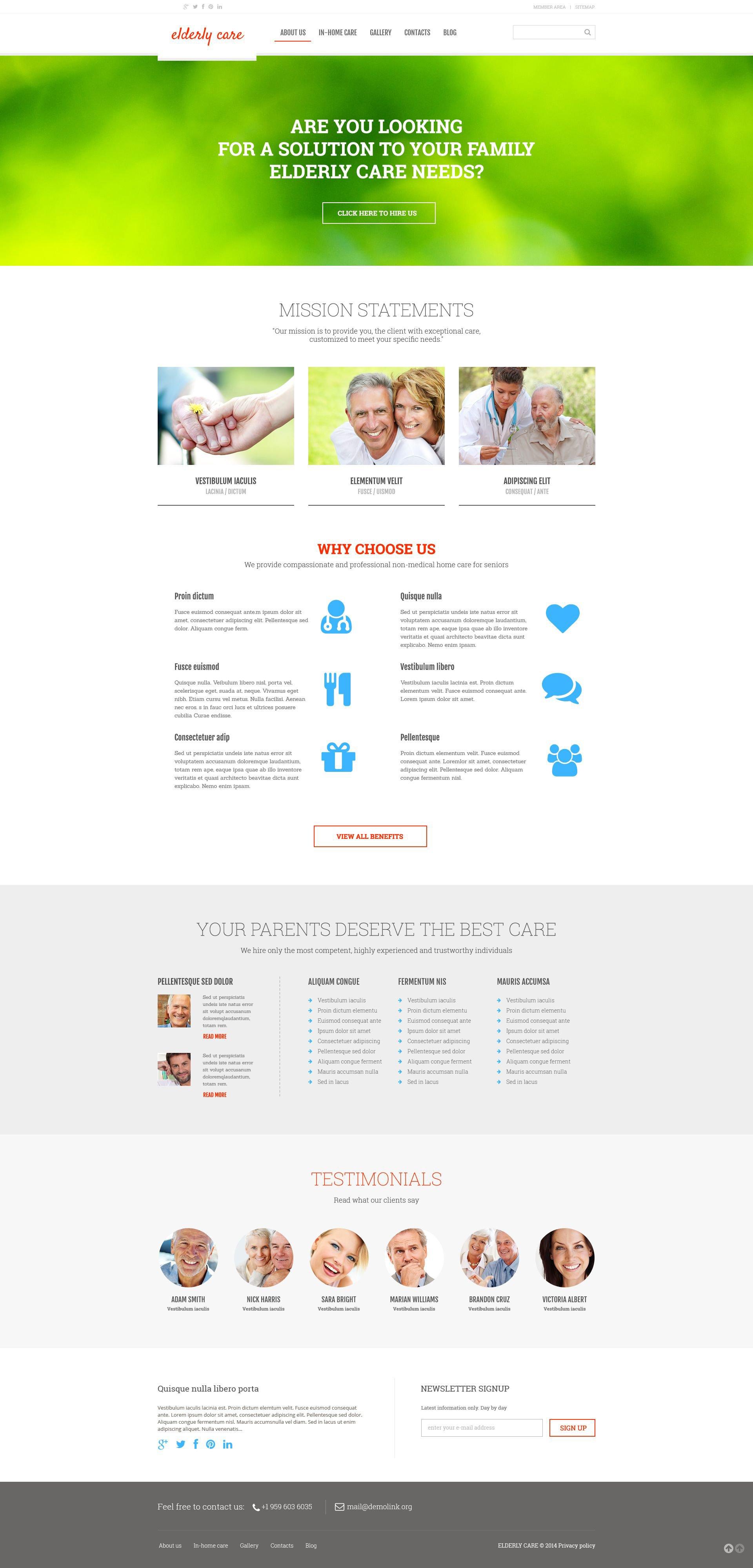 Reszponzív Idősgondozás témakörű WordPress sablon 52970 - képernyőkép