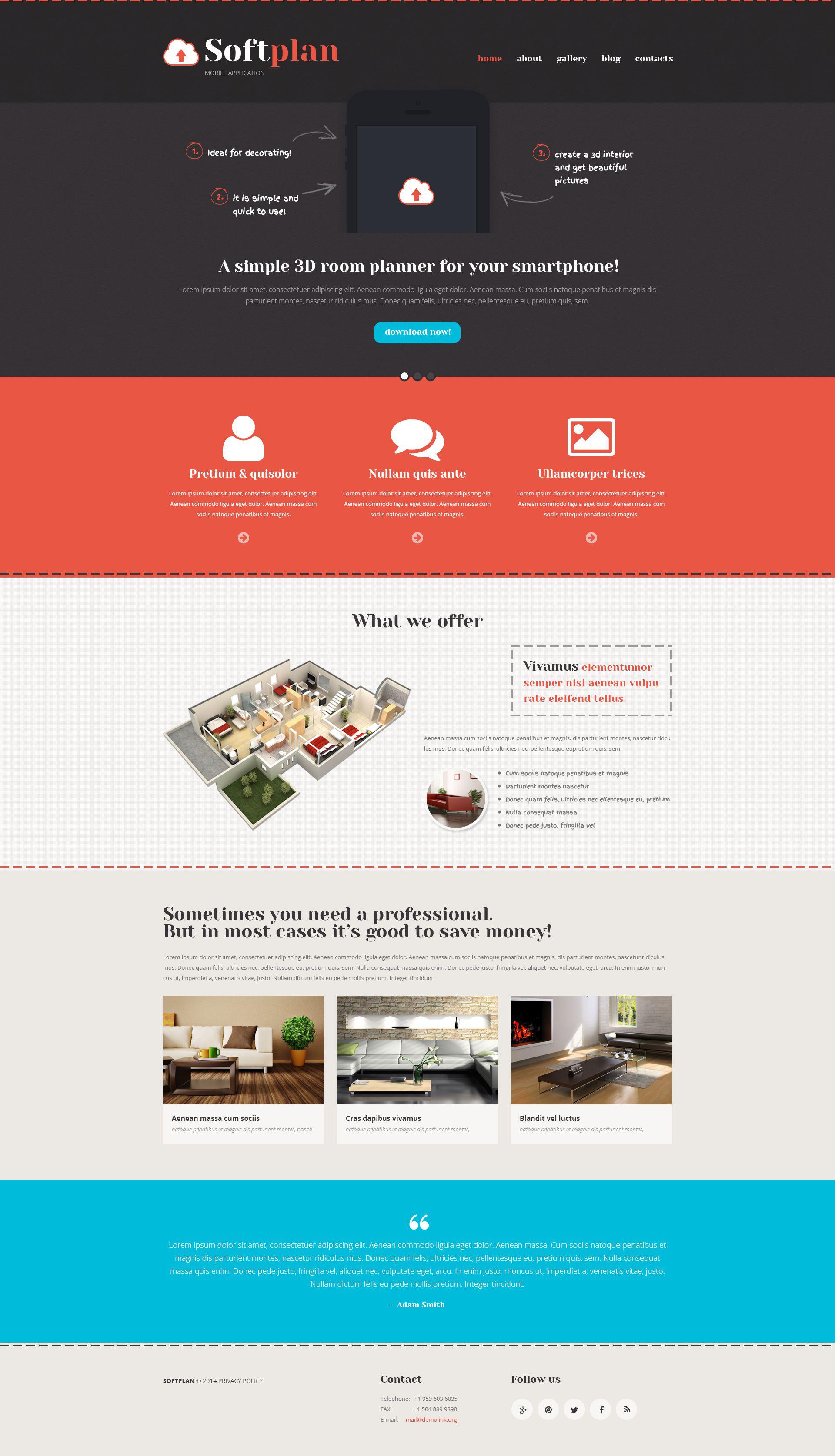 Reszponzív Mobile Apps Promotion WordPress sablon 52951 - képernyőkép
