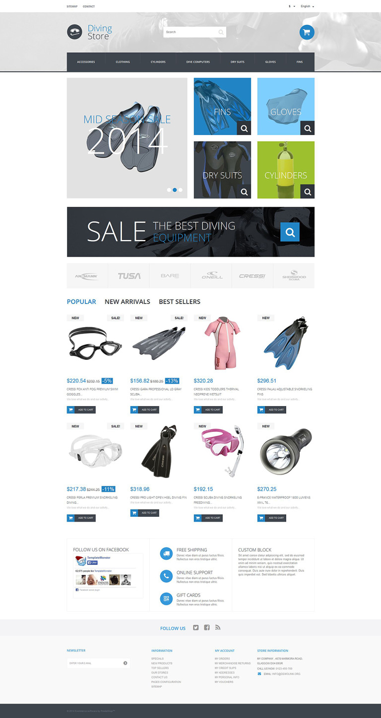 Scuba Diving Kit PrestaShop Theme New Screenshots BIG