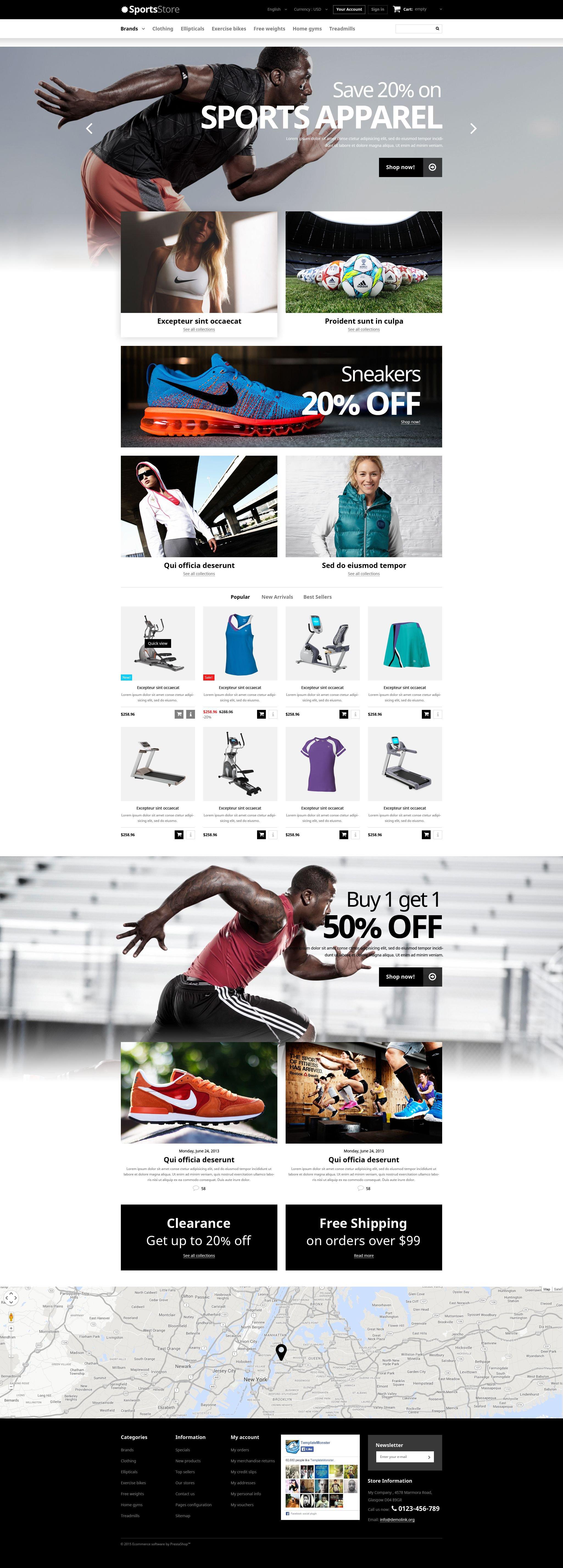 Sports Clothes  Equipment PrestaShop Theme - screenshot