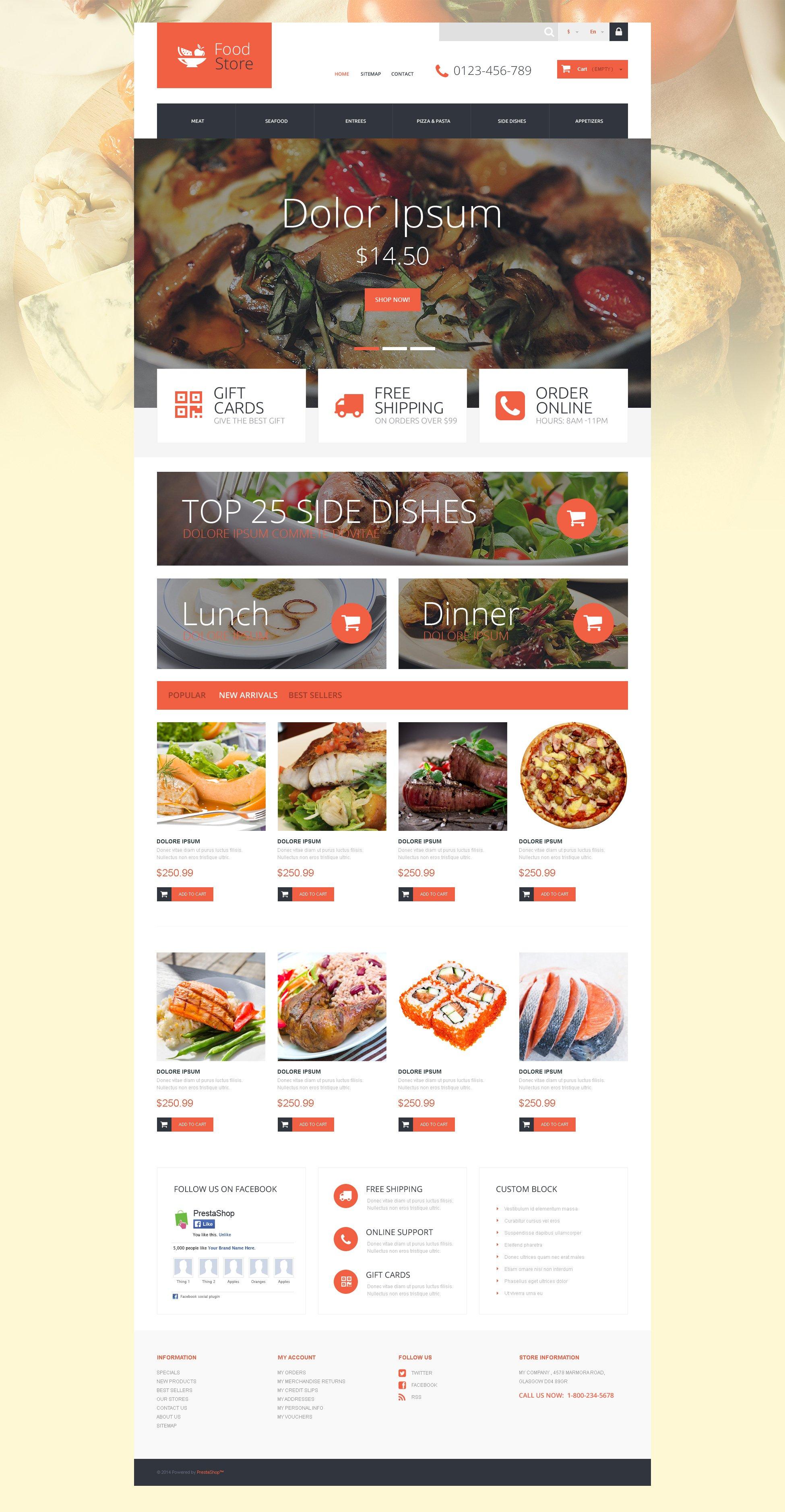 """Tema De PrestaShop """"Foodie"""" #52927"""