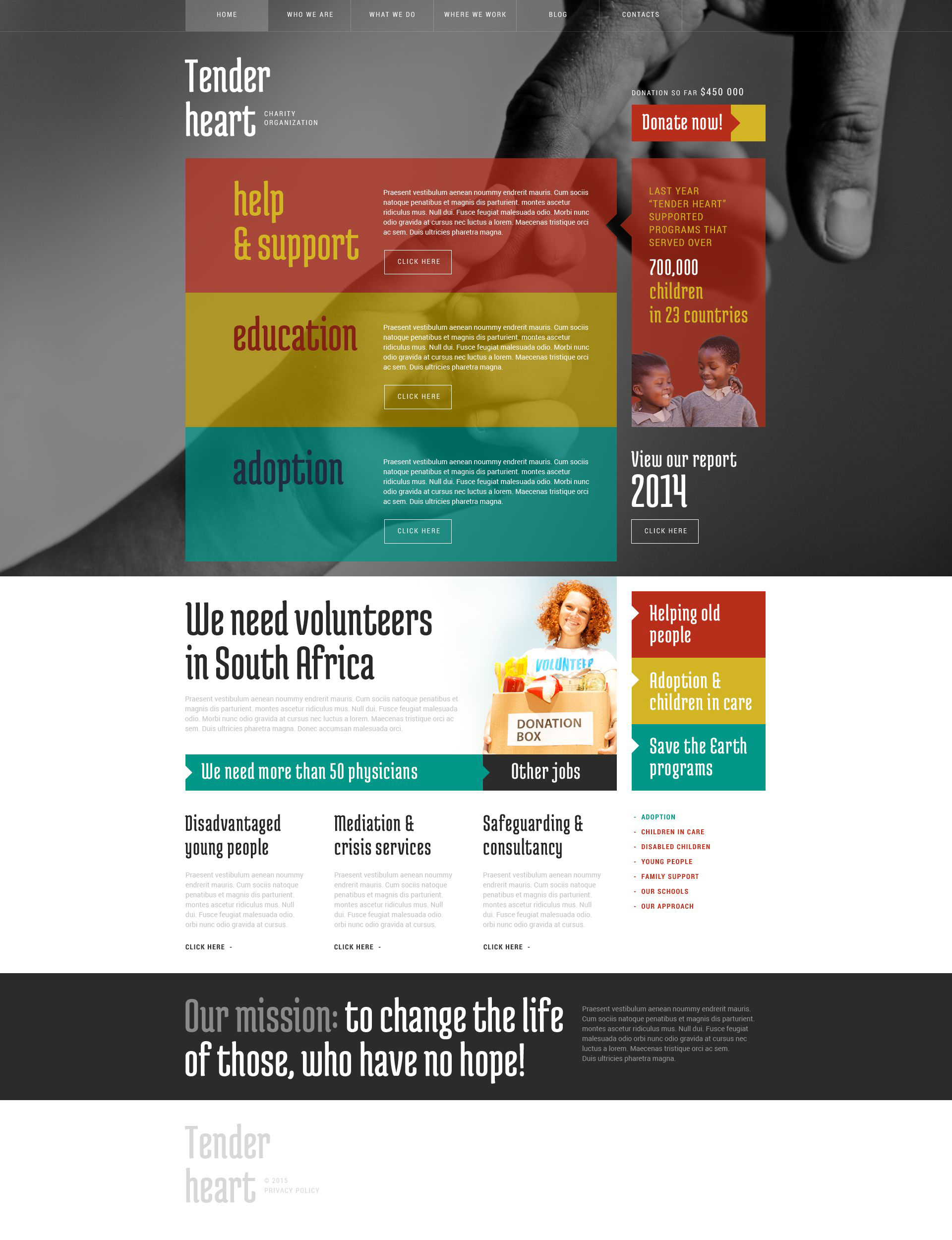 "Tema WordPress Responsive #52947 ""Charity"""